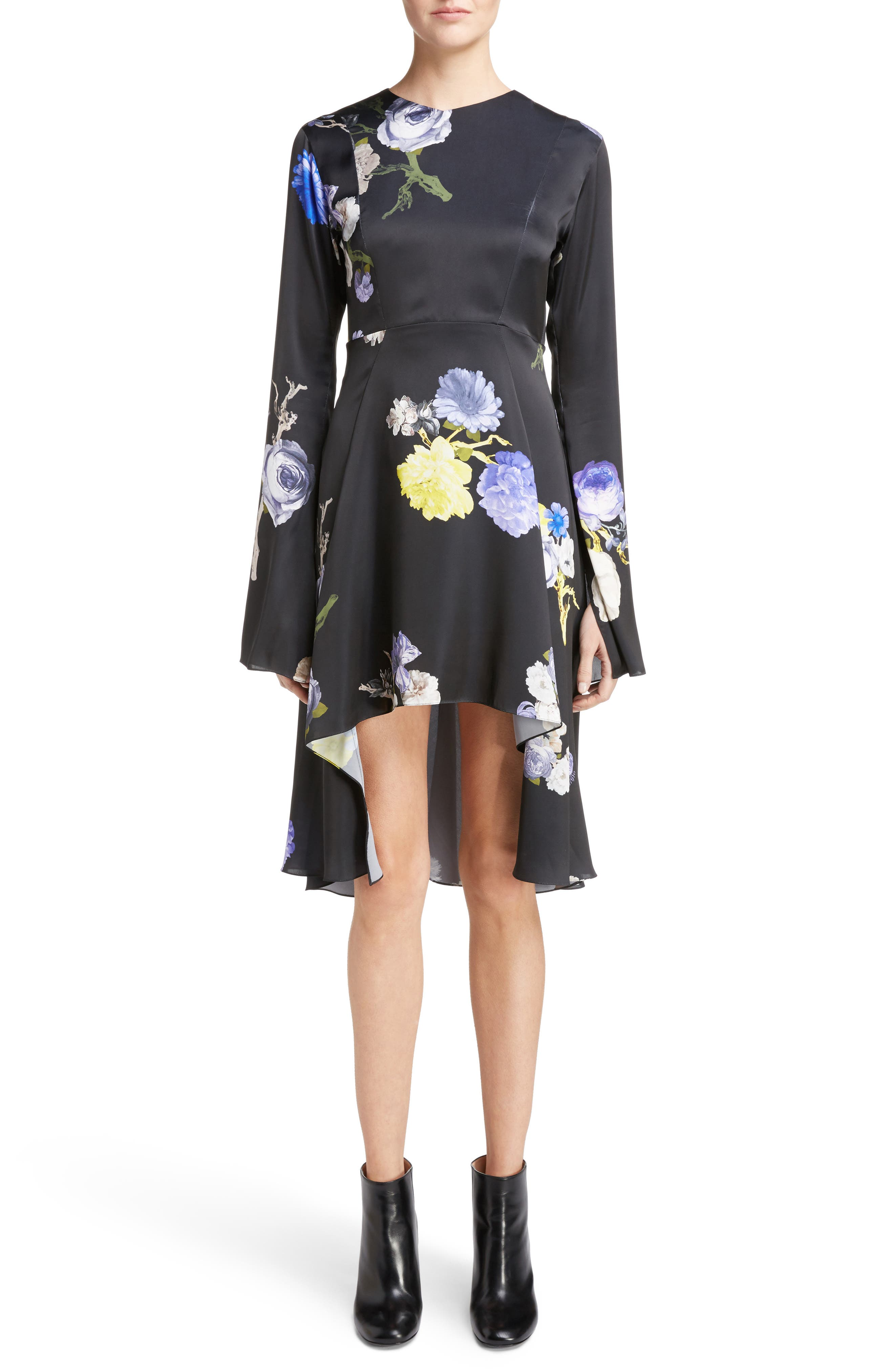 Dahari Floral Print High/Low Dress,                         Main,                         color, Big Flower Black