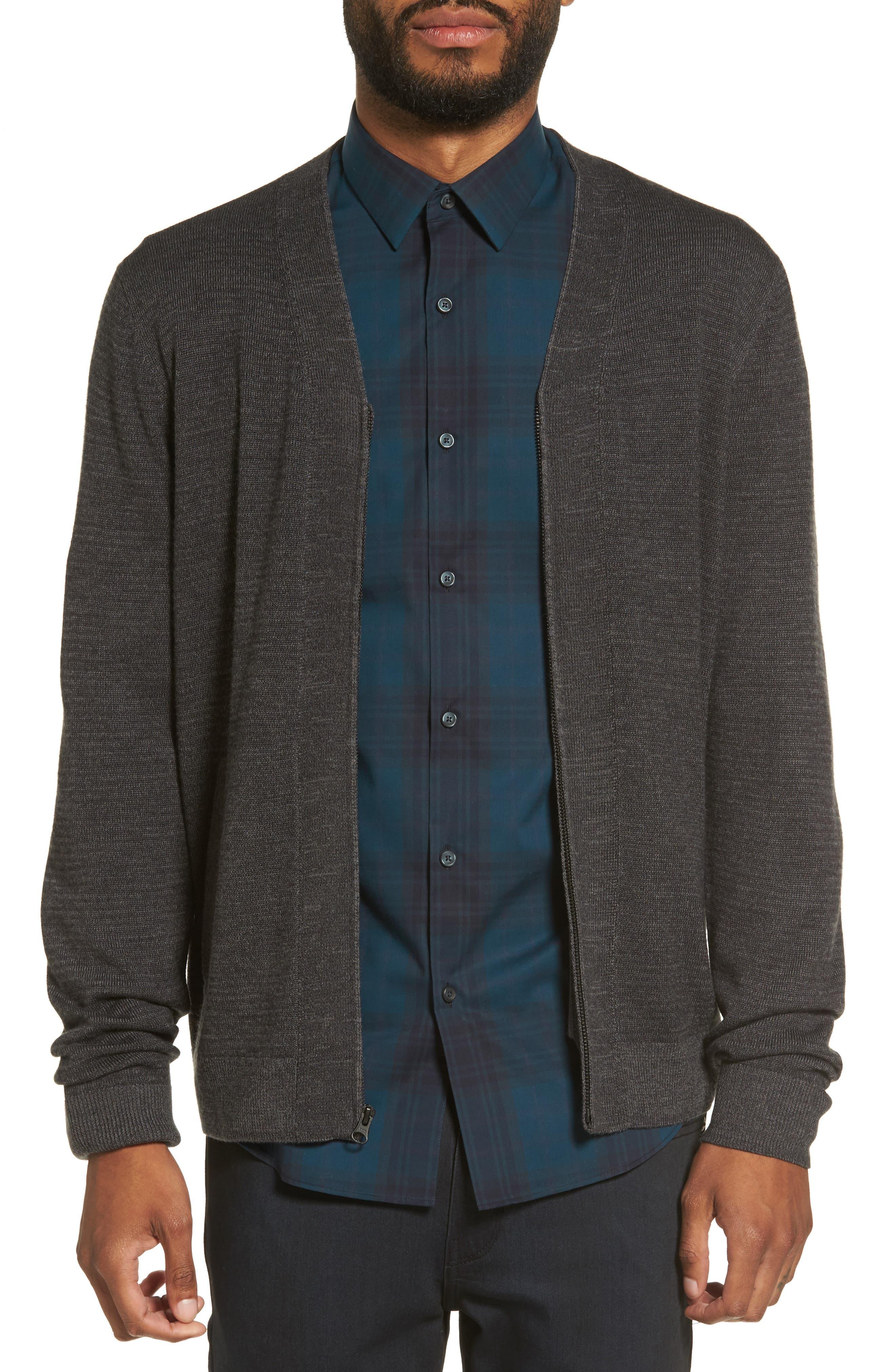 V-Neck Zip Cardigan,                         Main,                         color, Black Grey Magnet