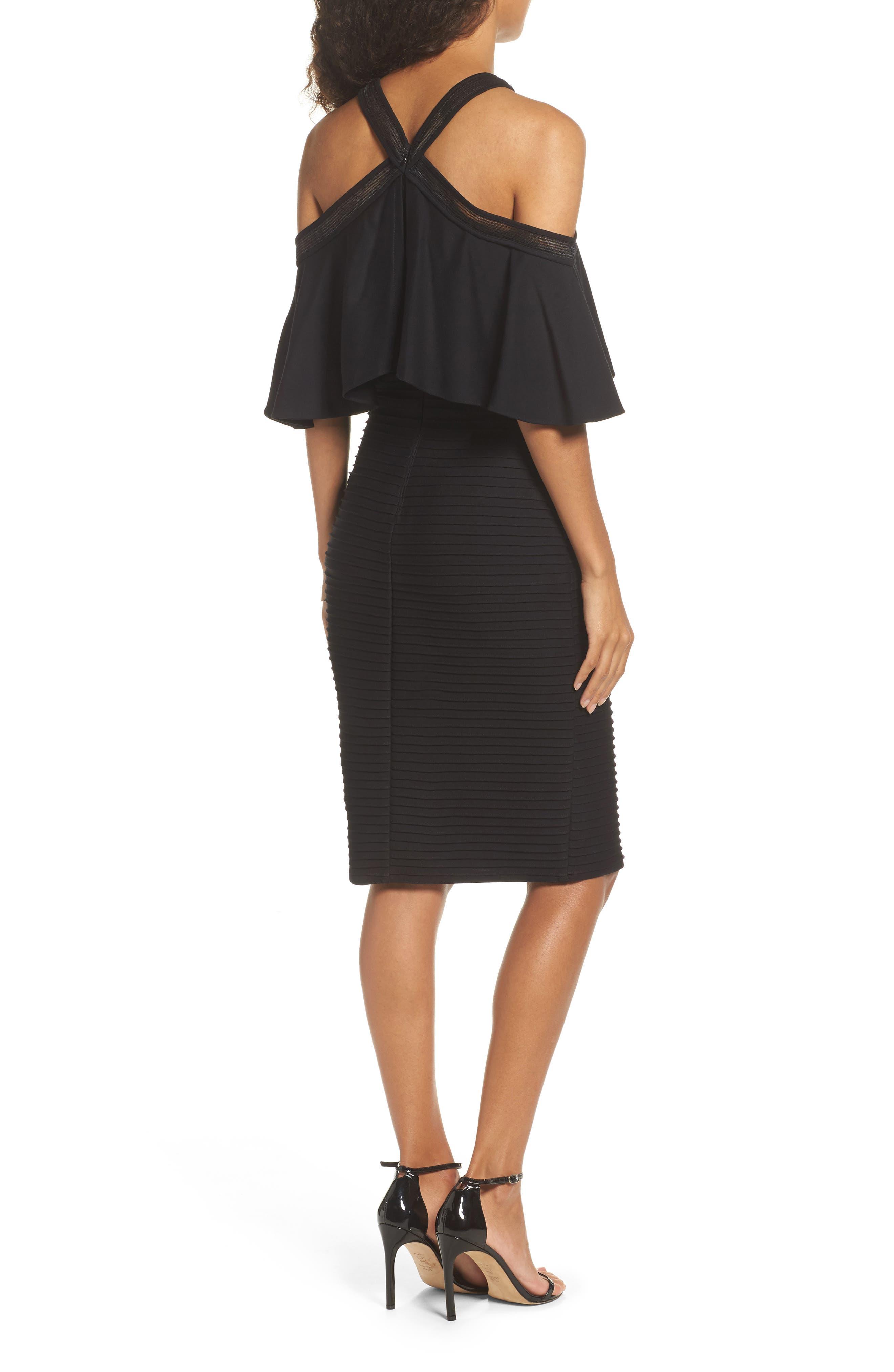 Pintuck Cold Shoulder Dress,                             Alternate thumbnail 2, color,                             Black