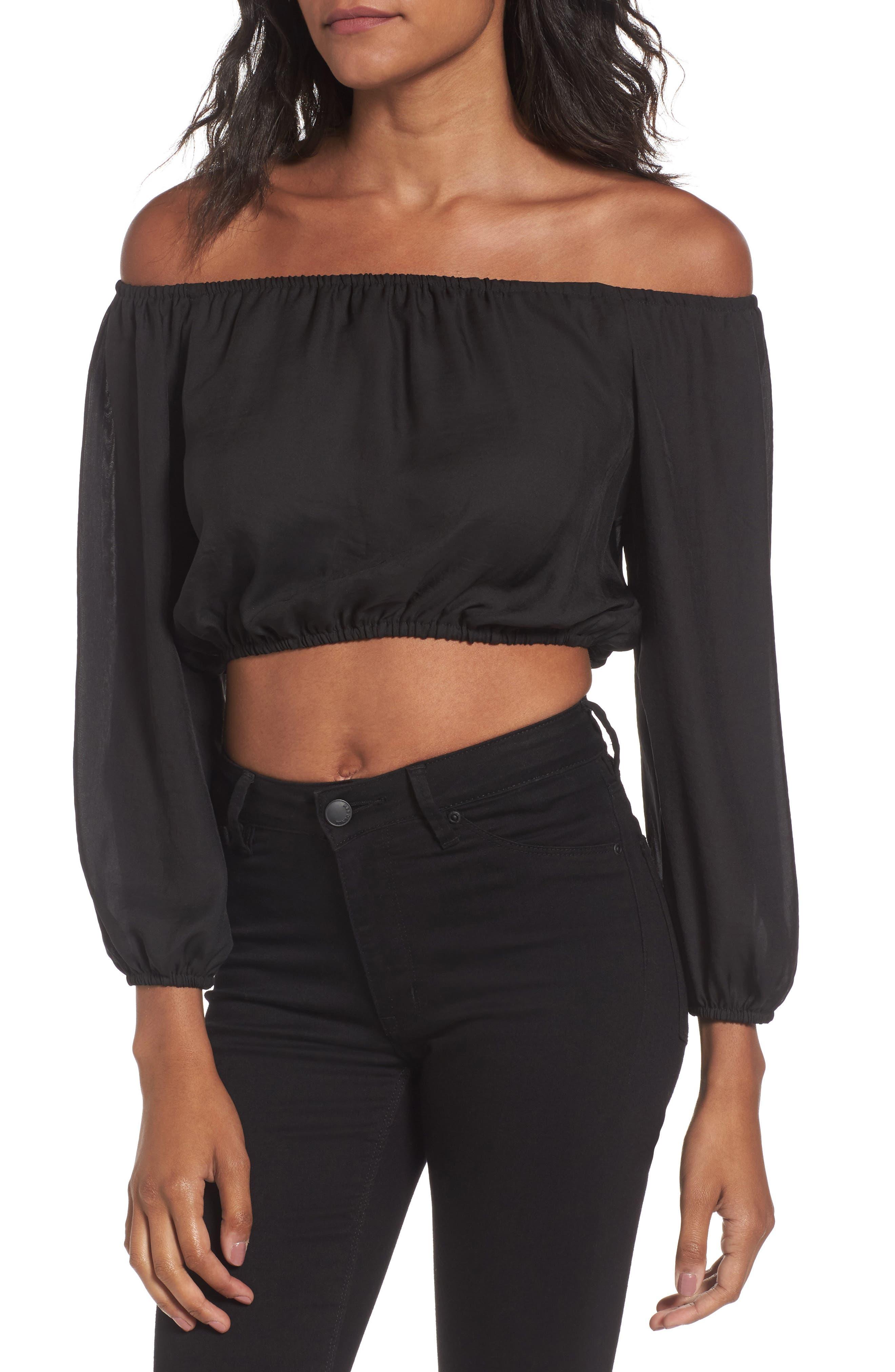 Lima Crop Top,                         Main,                         color, Black Silky Satin