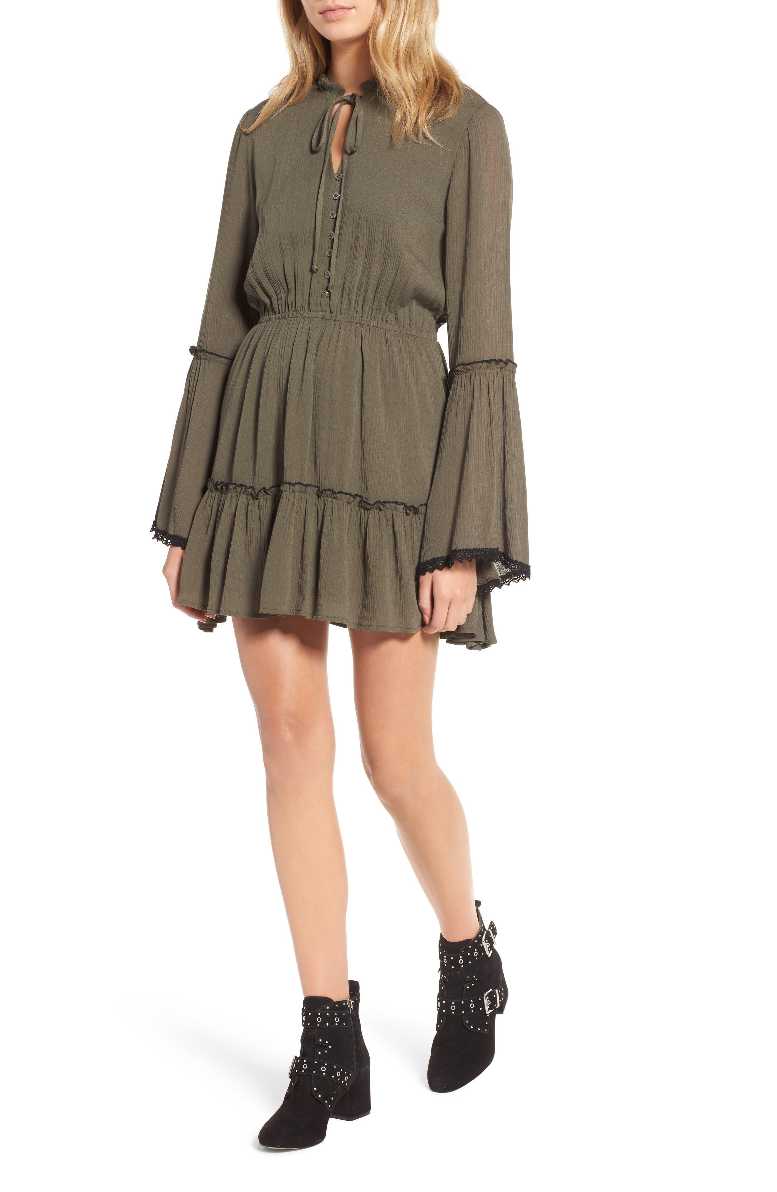 Olivia Bell Sleeve Dress,                         Main,                         color, Olive