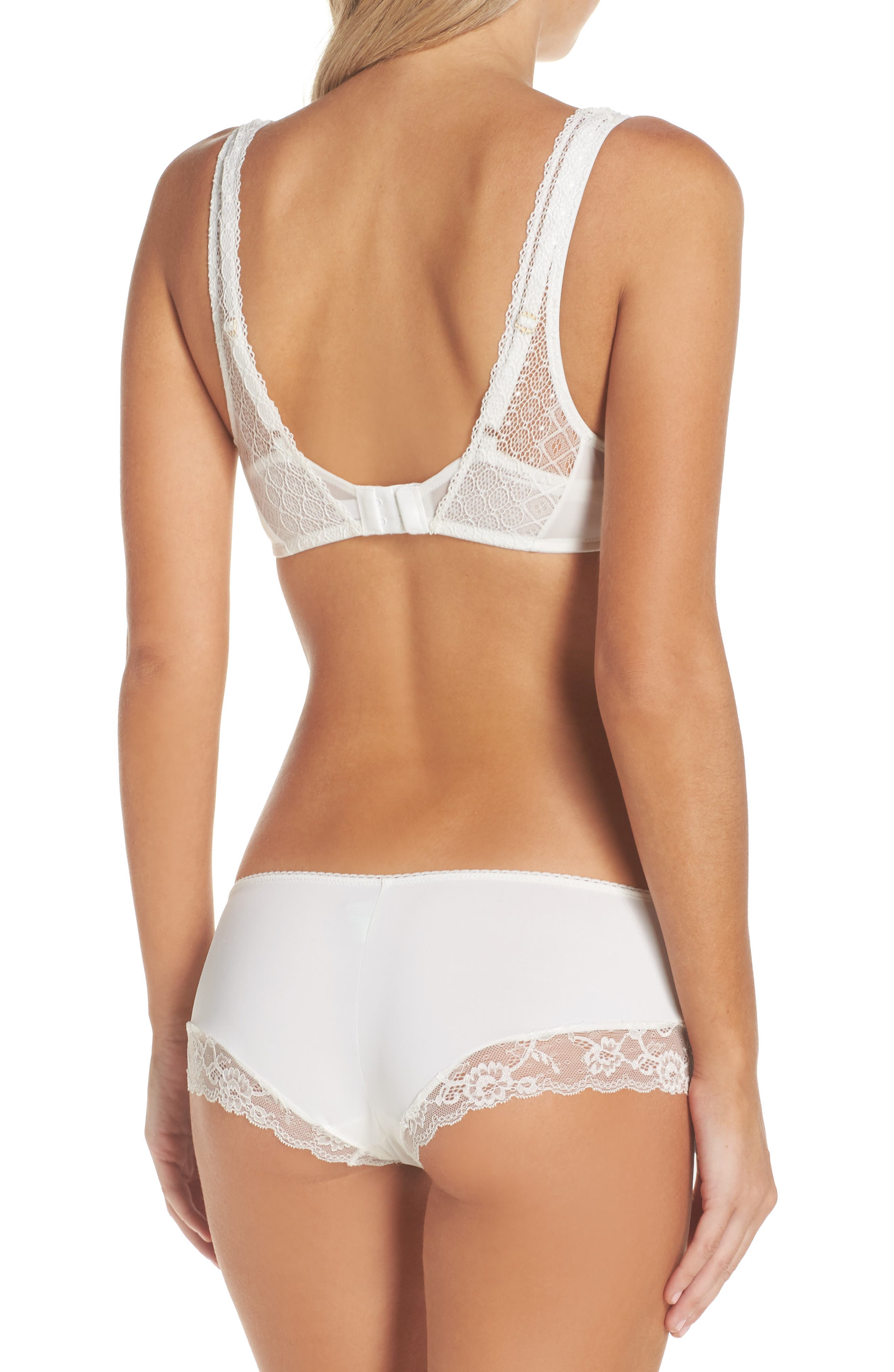 Honeydew Microfiber & Lace Hipster Panties,                             Alternate thumbnail 6, color,                             Ivory