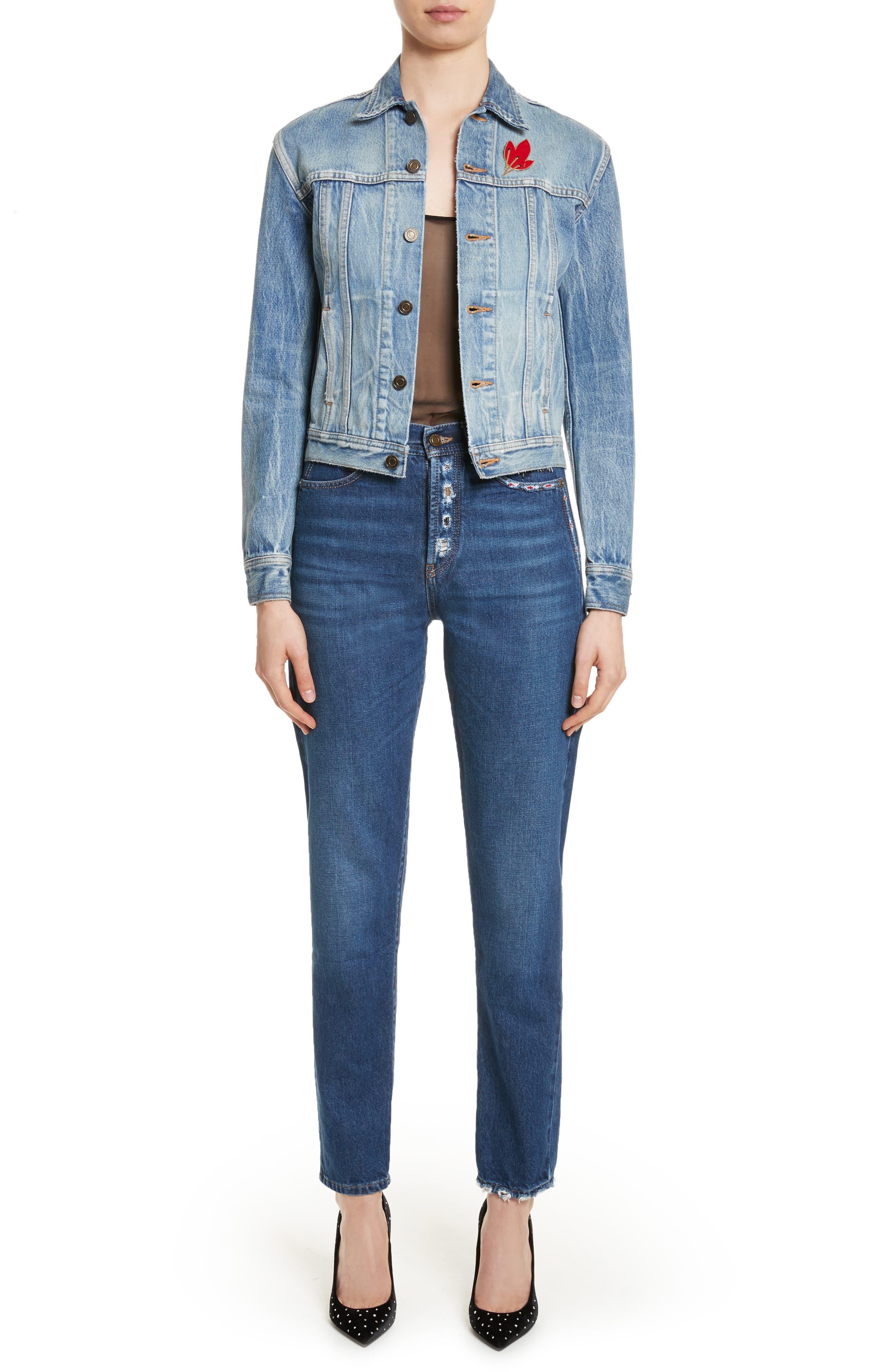 Alternate Image 7  - Saint Laurent Embroidered Jeans (Deep Dark Blue)