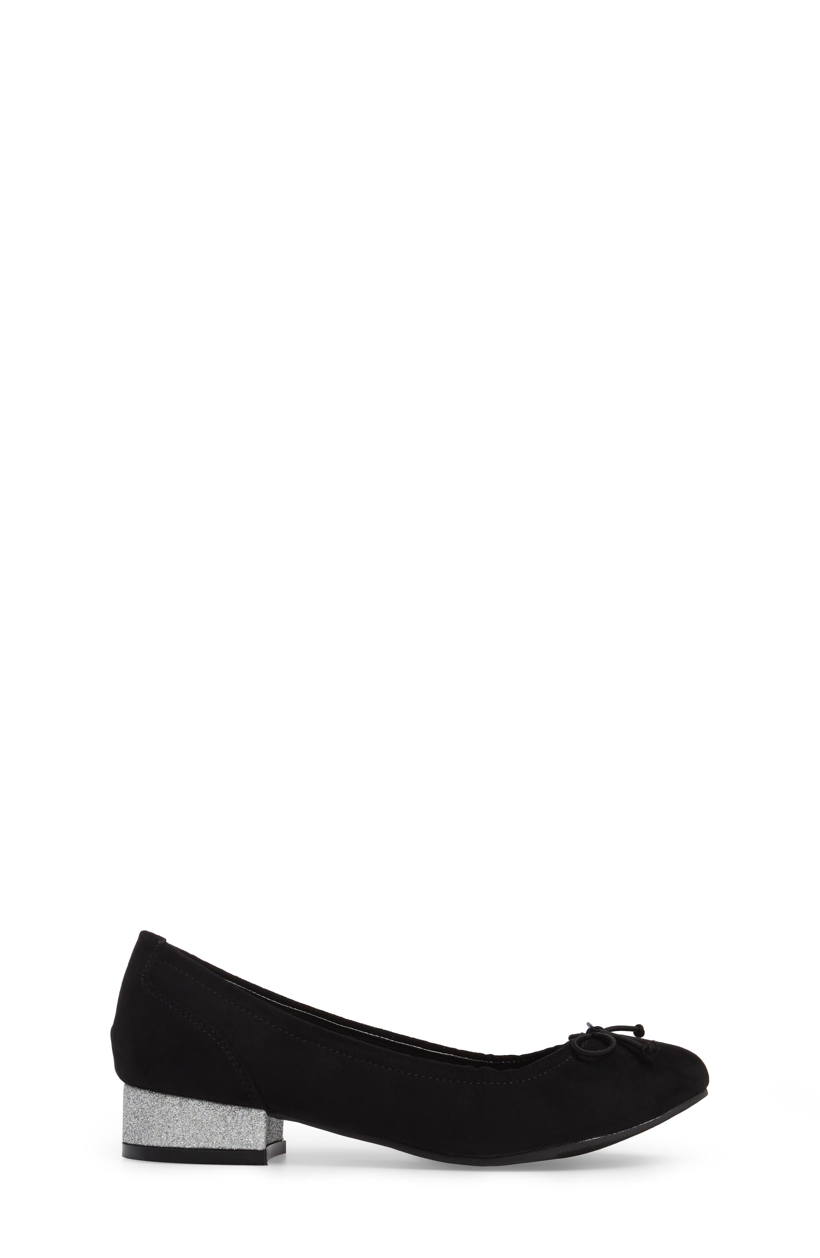 Tap Heel Glittery Slip-On,                             Alternate thumbnail 3, color,                             Black Suede