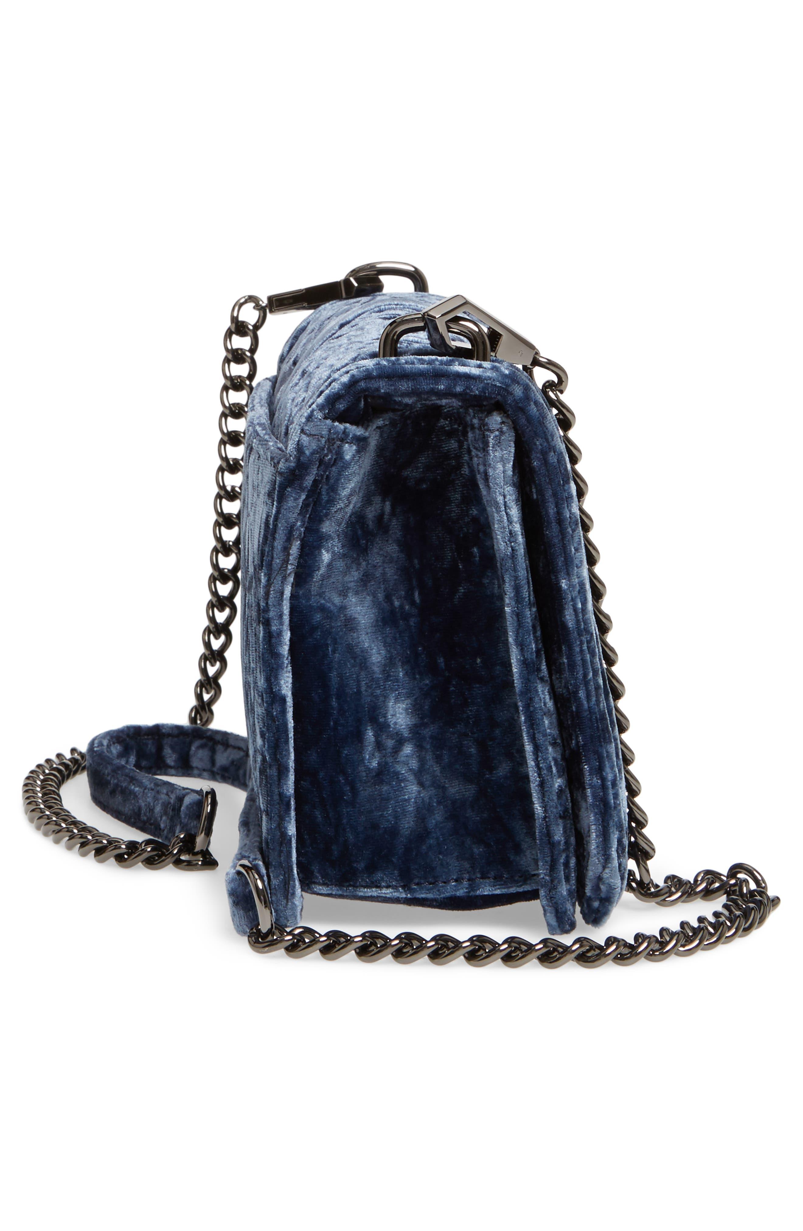 Love Velvet Quilted Crossbody Bag,                             Alternate thumbnail 5, color,                             Blue