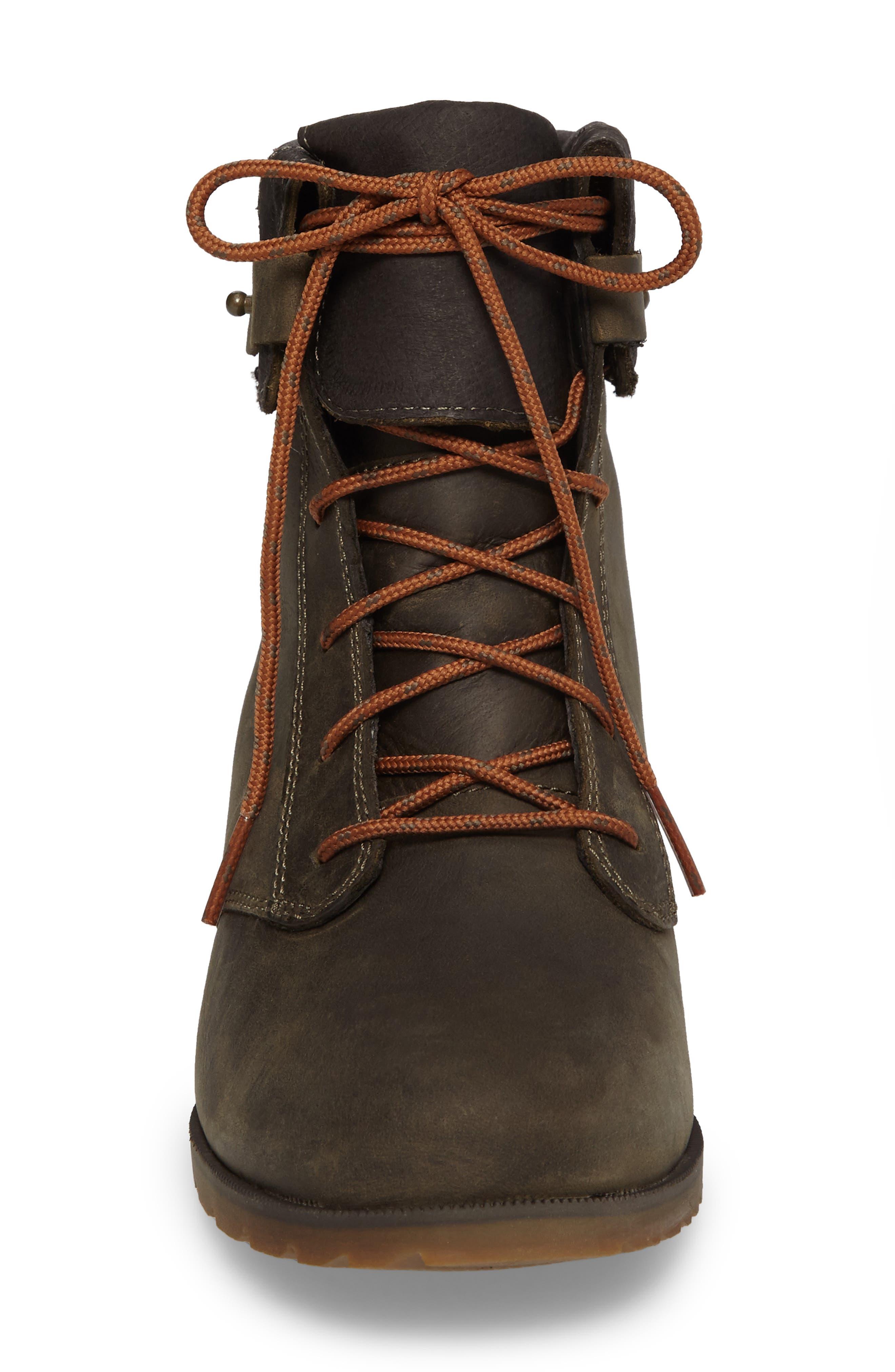 'De La Vina' Waterproof Lace-Up Boot,                             Alternate thumbnail 4, color,                             Dark Olive Leather
