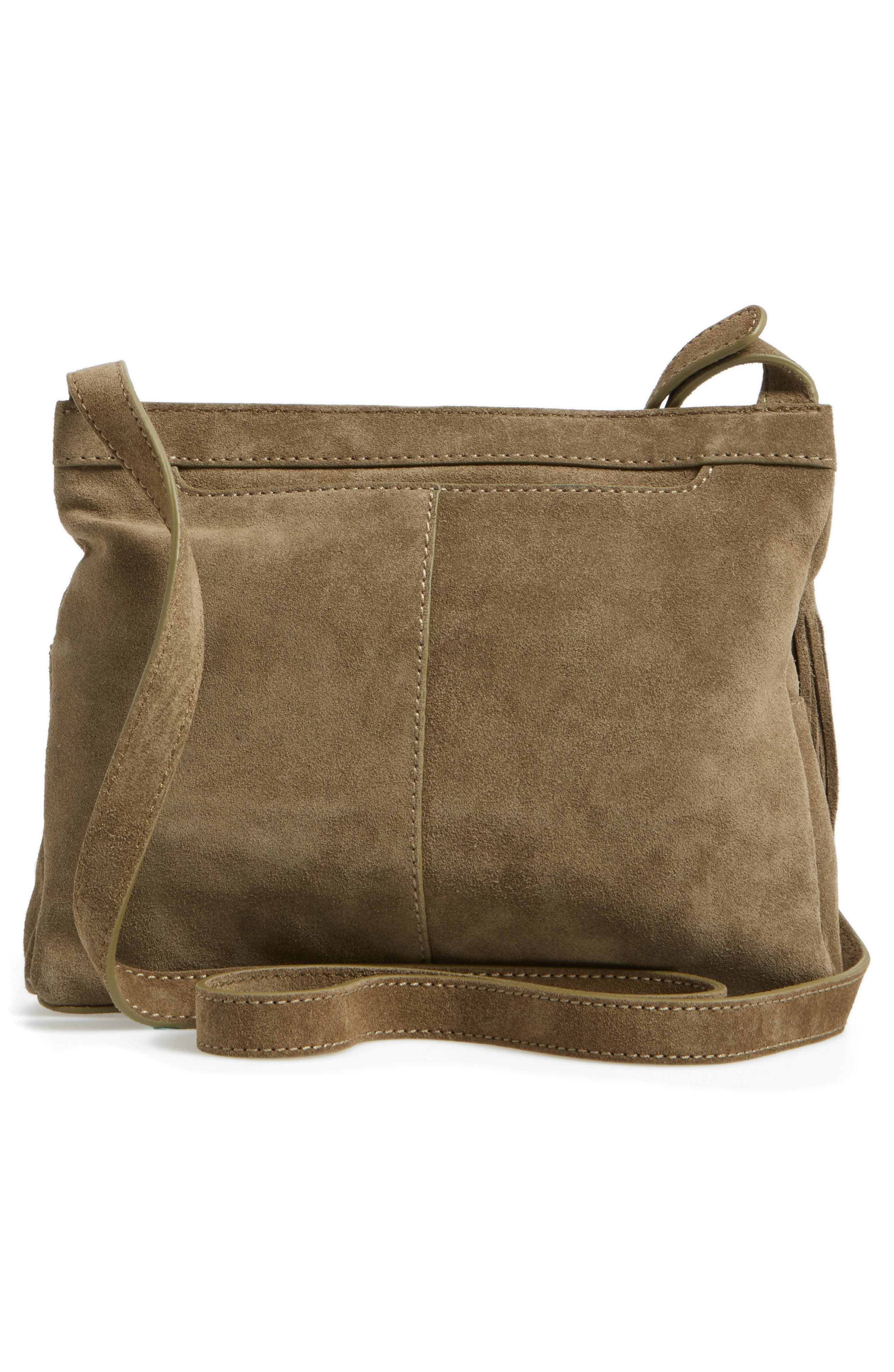 Cassie Calfskin Suede Crossbody Bag,                             Alternate thumbnail 3, color,                             Sage