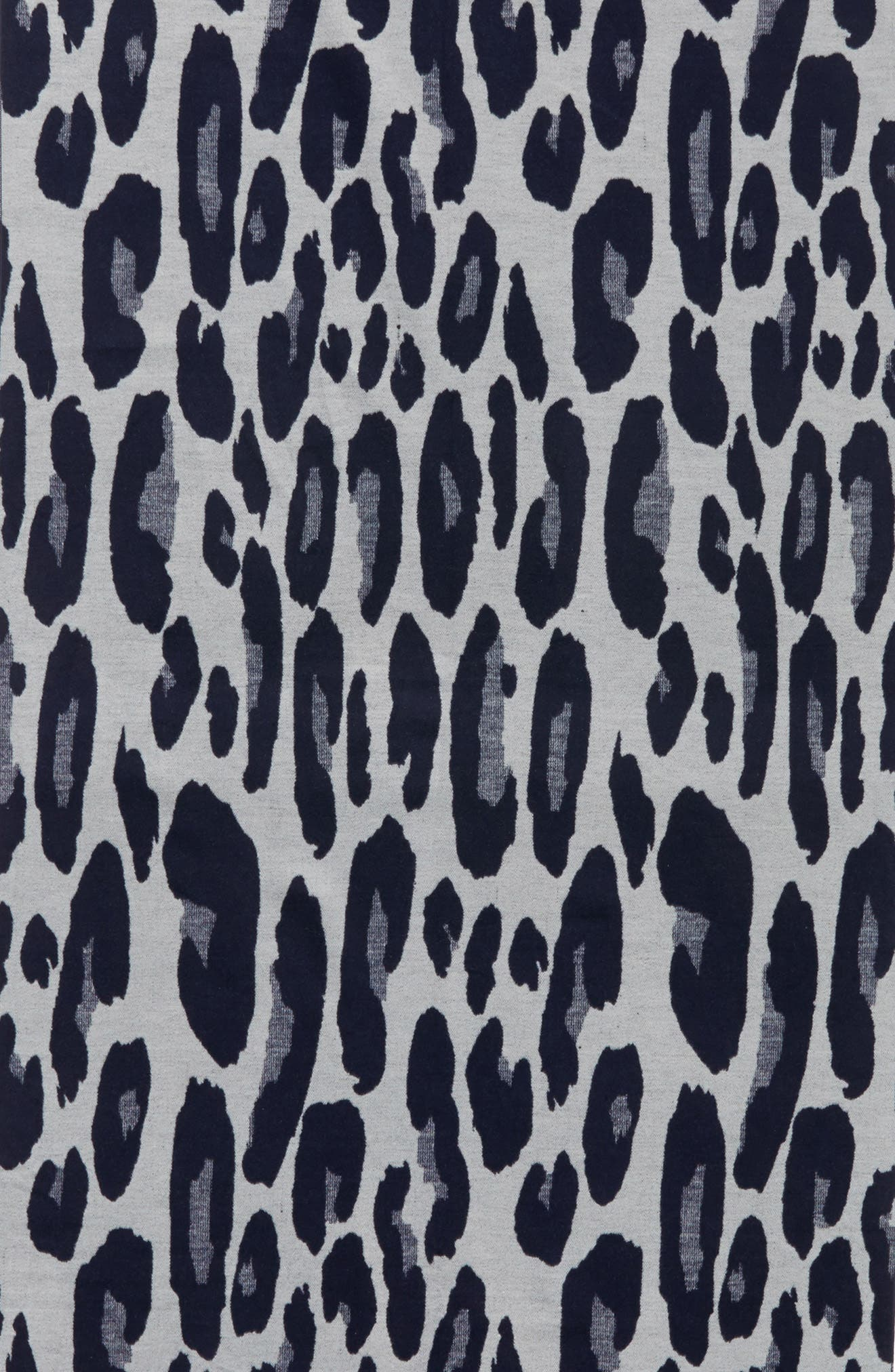 Leopard Print Brushed Silk Scarf,                             Alternate thumbnail 4, color,                             Navy