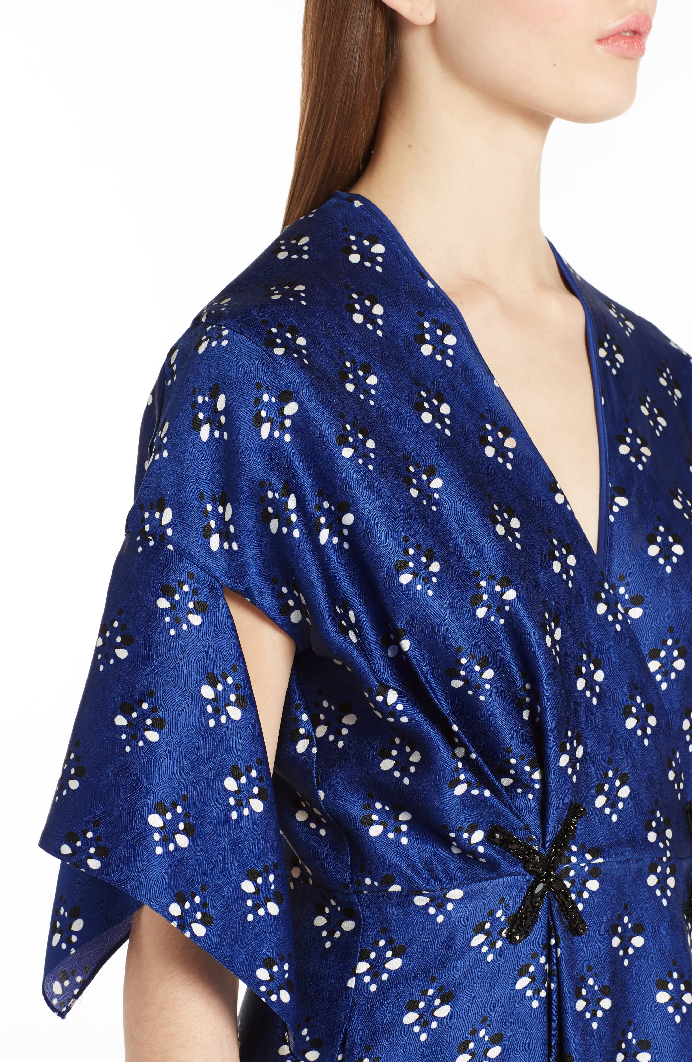 Drops Print Silk Dress,                             Alternate thumbnail 4, color,                             Blue Print