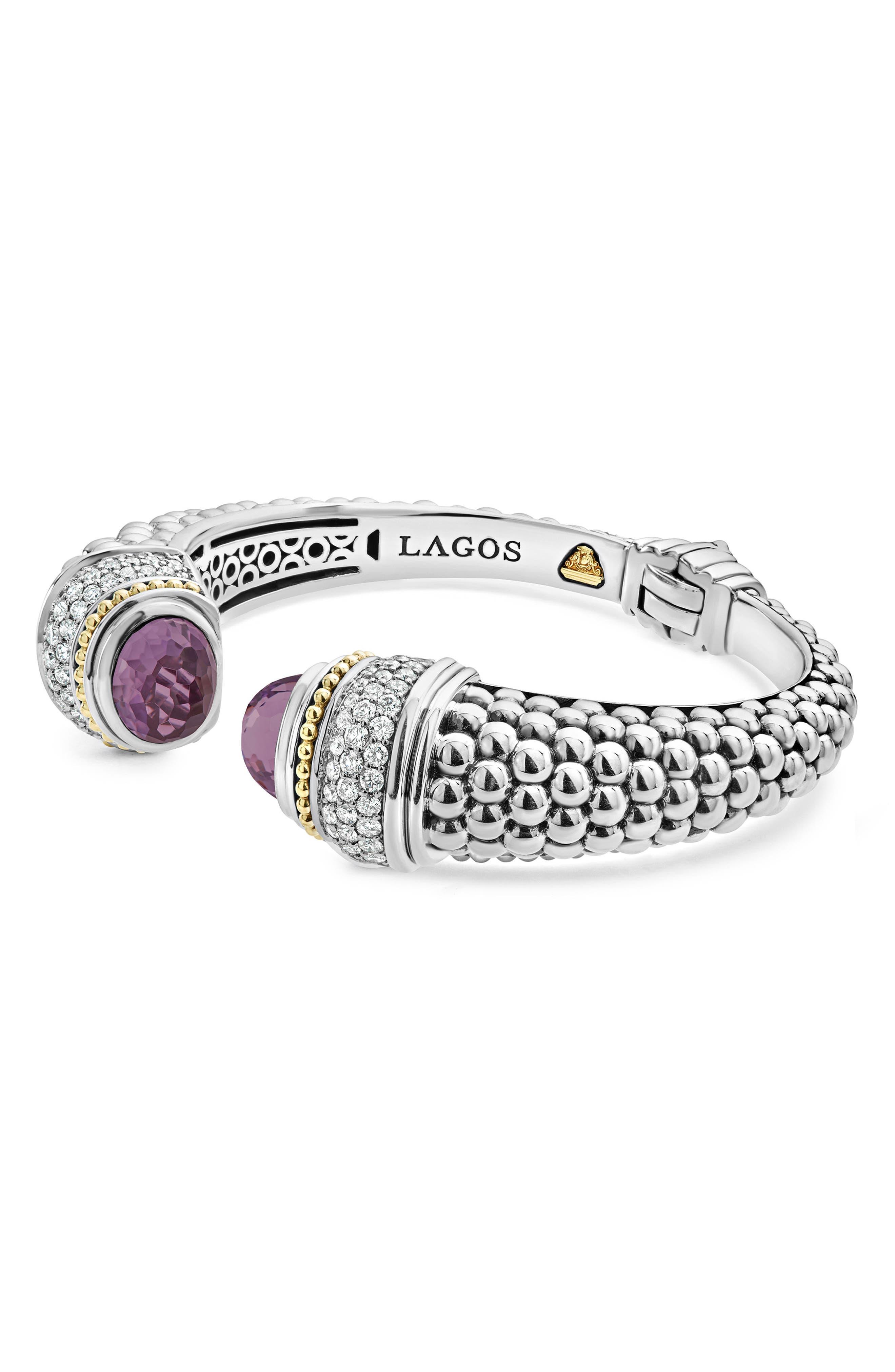 Caviar Diamond & Semiprecious Stone Wrist Cuff,                         Main,                         color, Amethyst