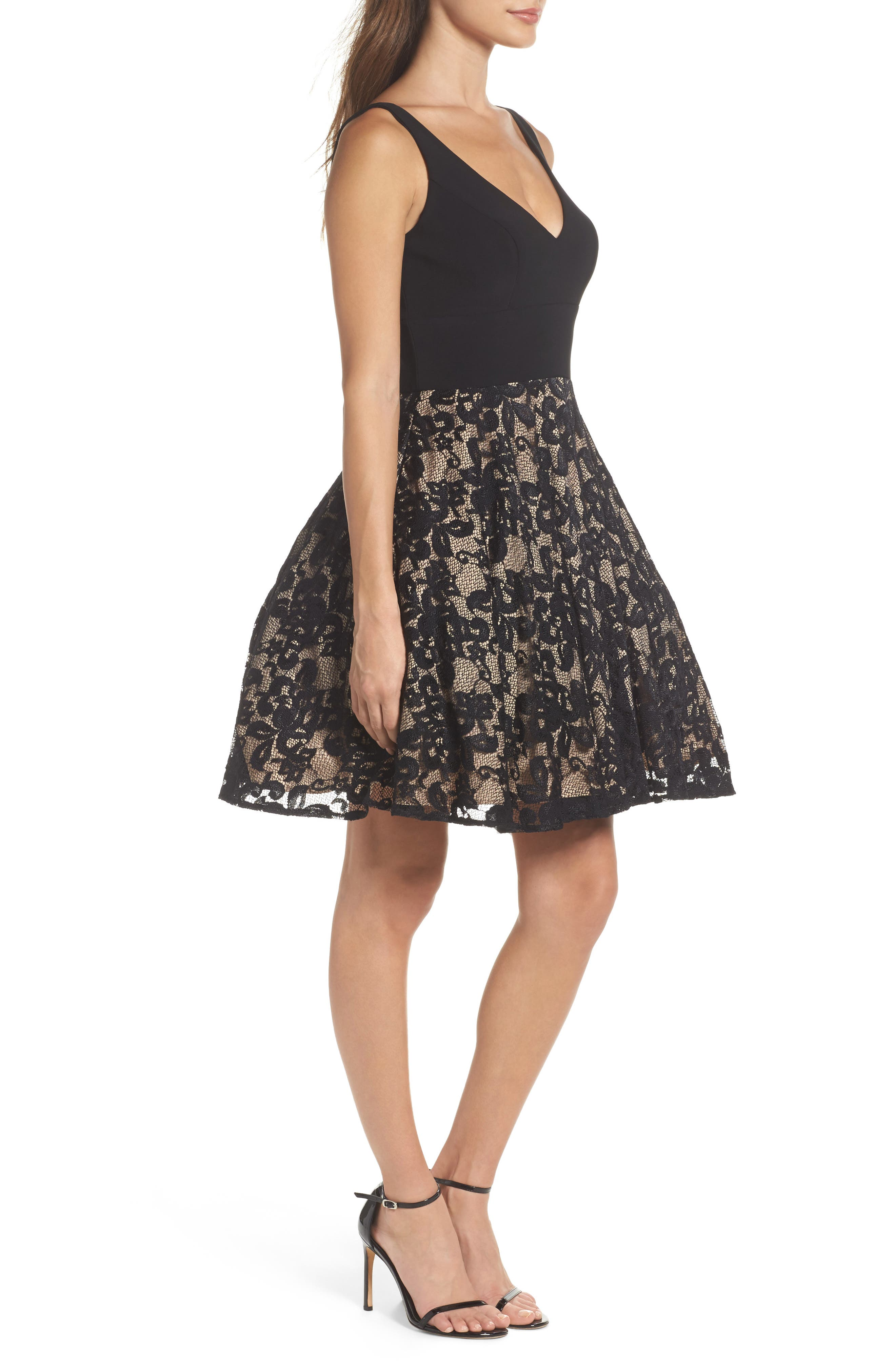 Jersey & Lace Party Dress,                             Alternate thumbnail 3, color,                             Black/ Nude