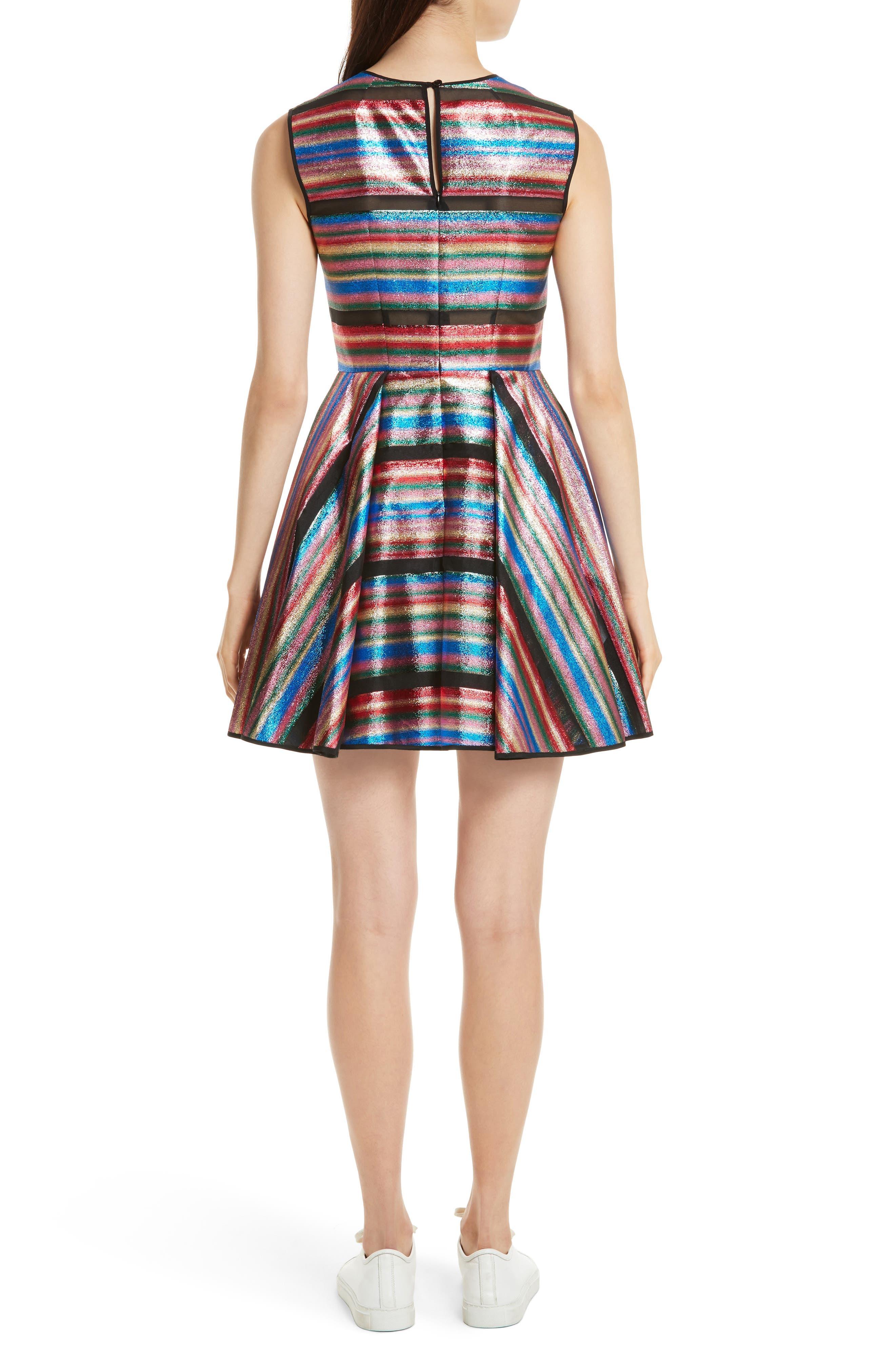 Balli Metallic Stripe Fit & Flare Dress,                             Alternate thumbnail 2, color,                             Multi