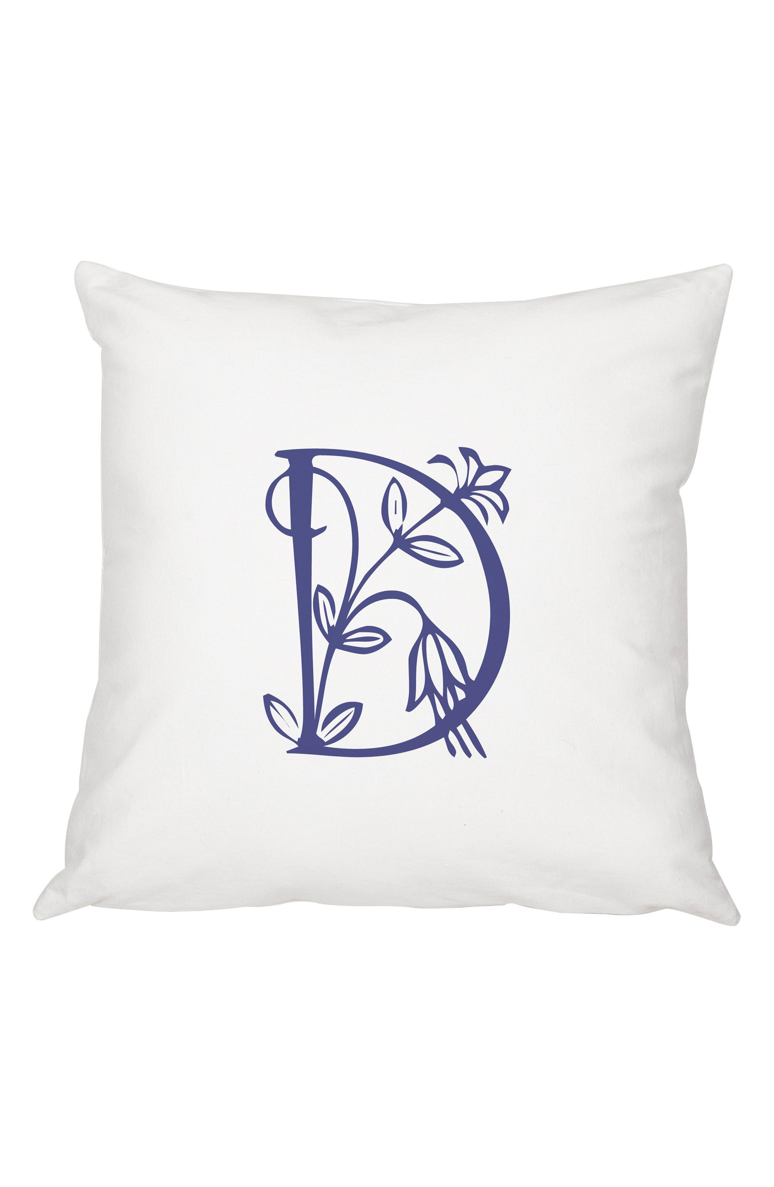 Floral Monogram Accent Pillow,                         Main,                         color, Blue-D
