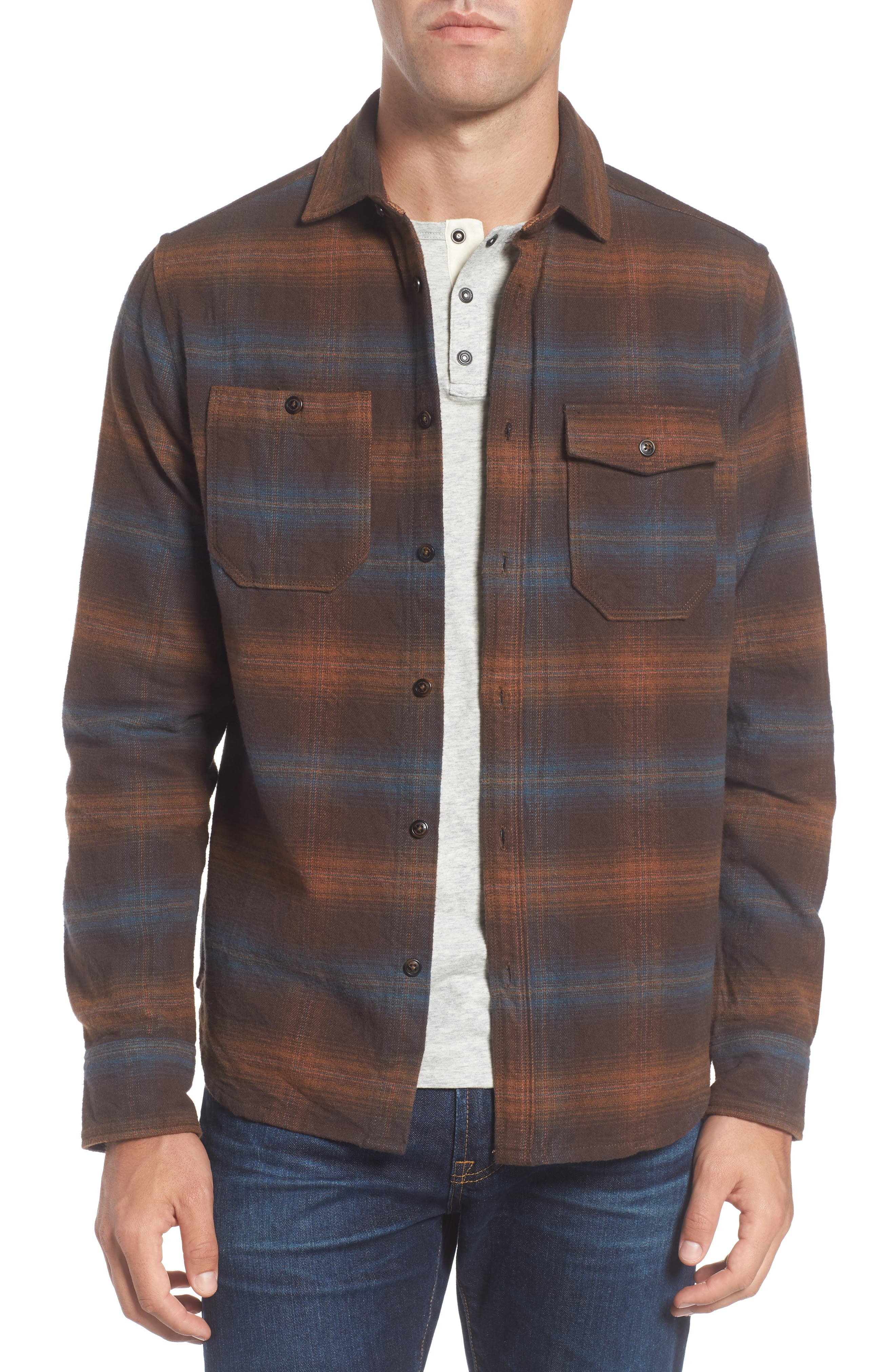 Canyon Plaid Brushed Twill Shirt,                         Main,                         color, Bittersweet