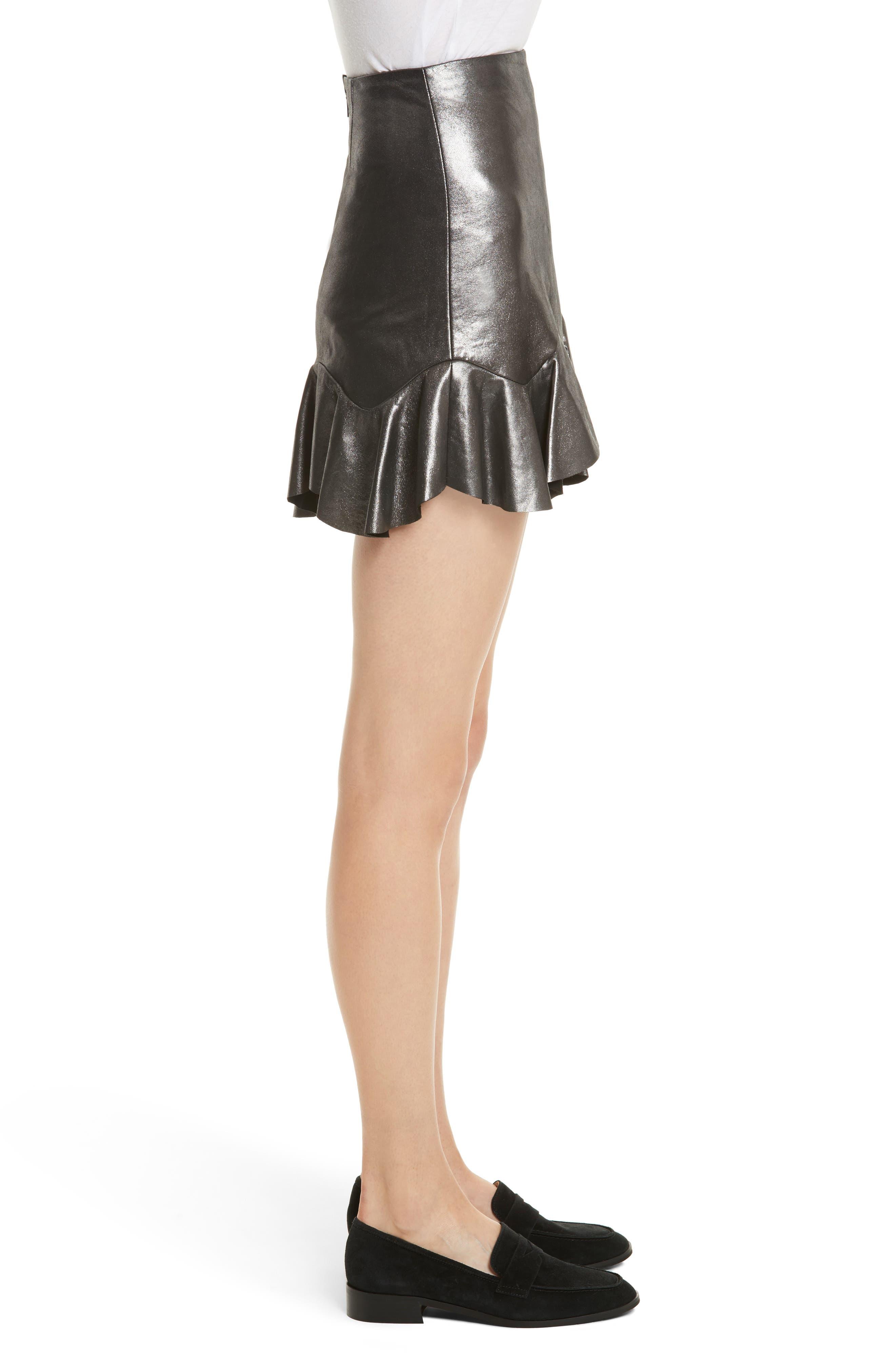 Alternate Image 3  - Rebecca Taylor Metallic Leather Miniskirt