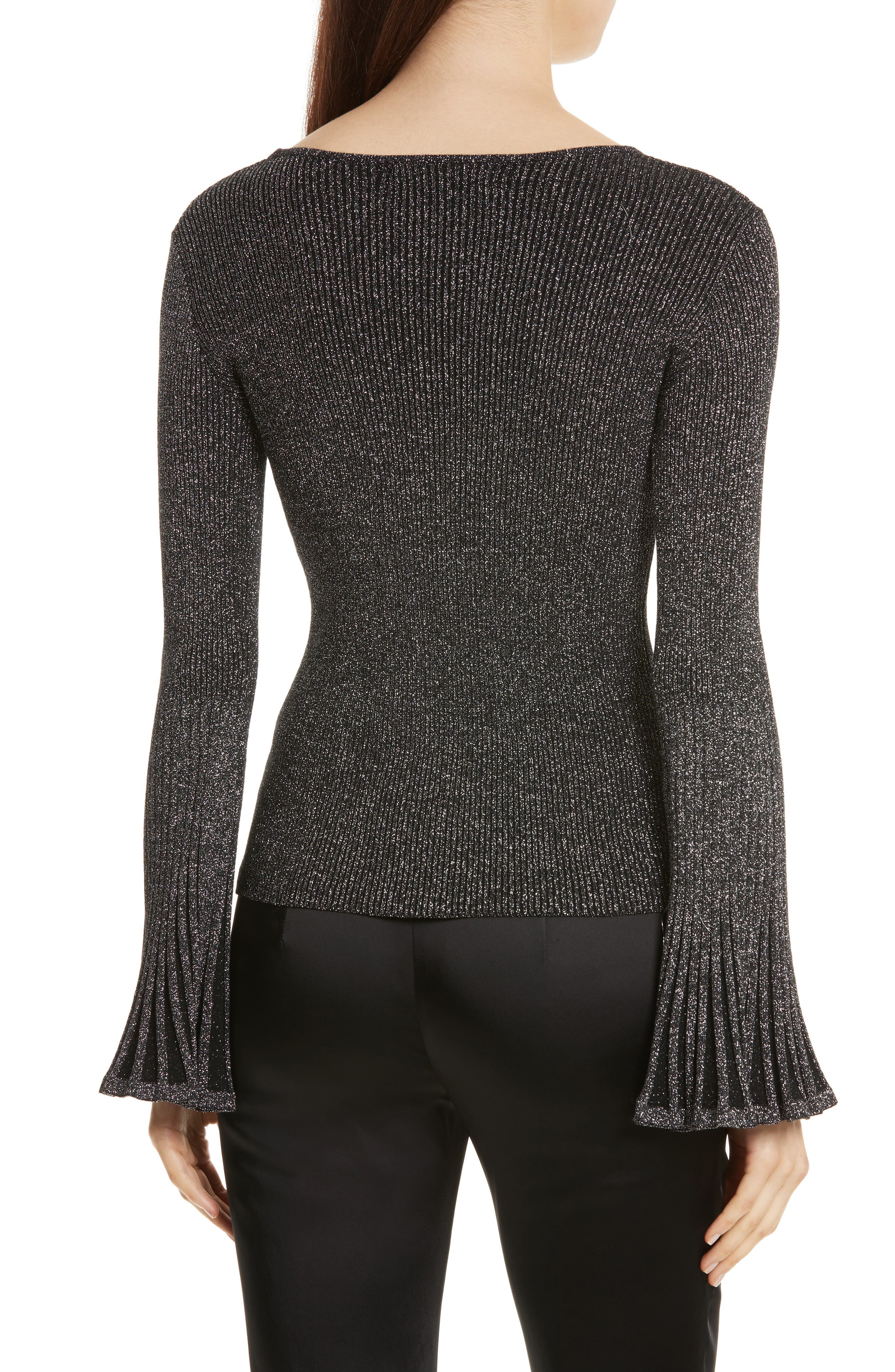 Alternate Image 2  - Milly Bell Sleeve Ribbed Metallic Sweater