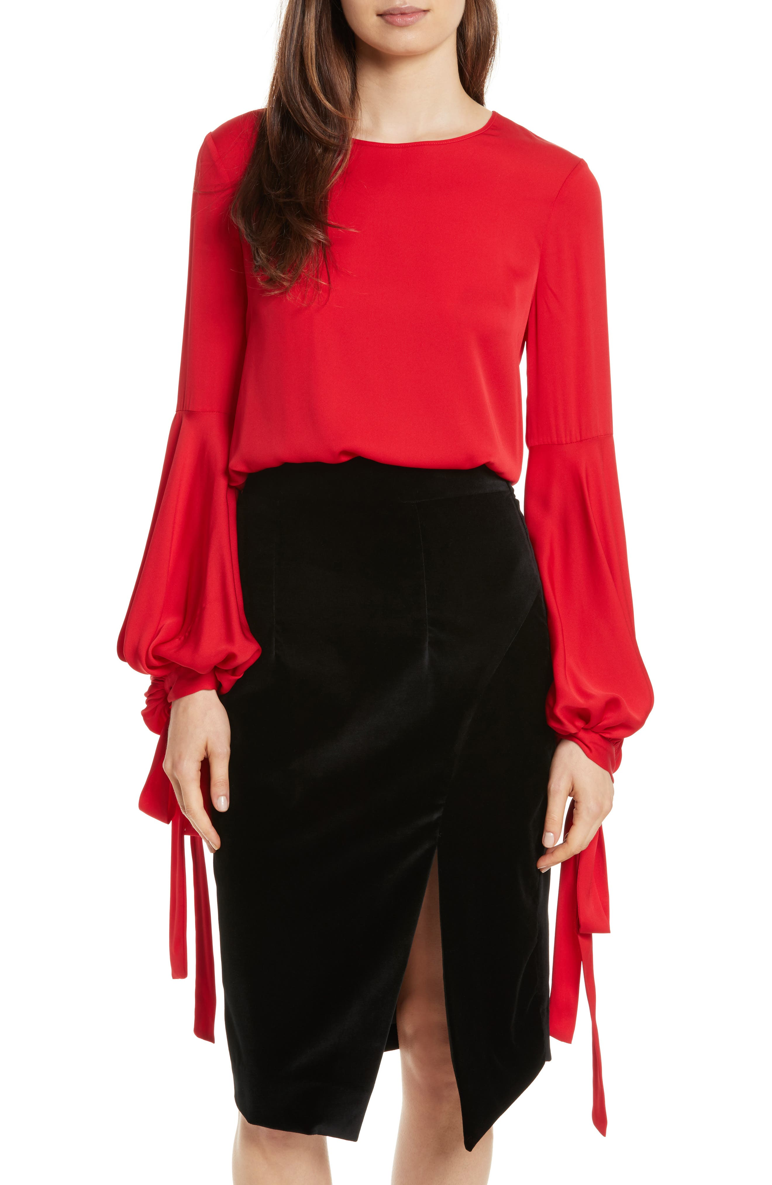Juliette Stretch Silk Blouse,                             Main thumbnail 1, color,                             Lipstick Red