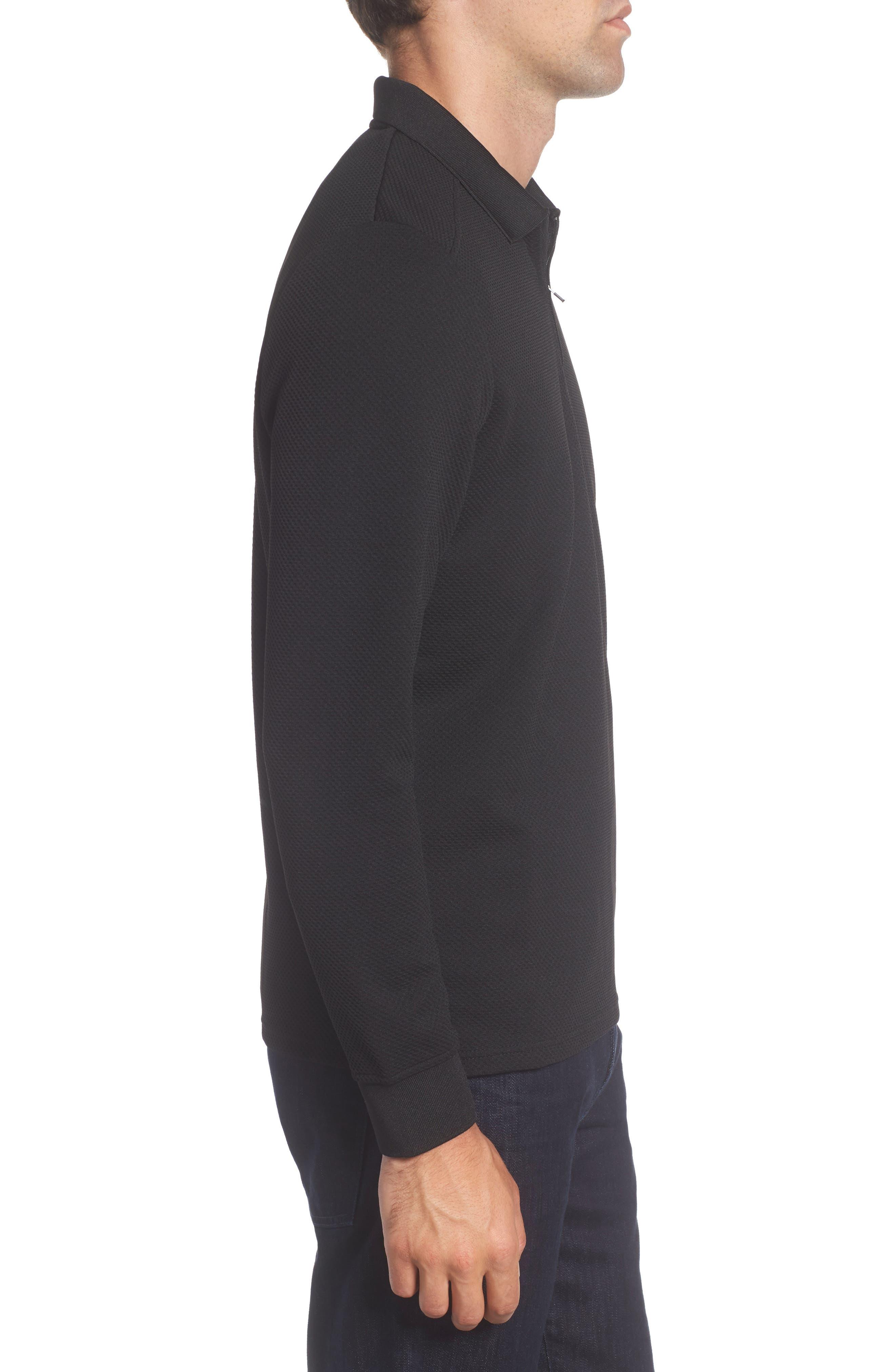 Long Sleeve Zip Polo,                             Alternate thumbnail 3, color,                             86599 Black