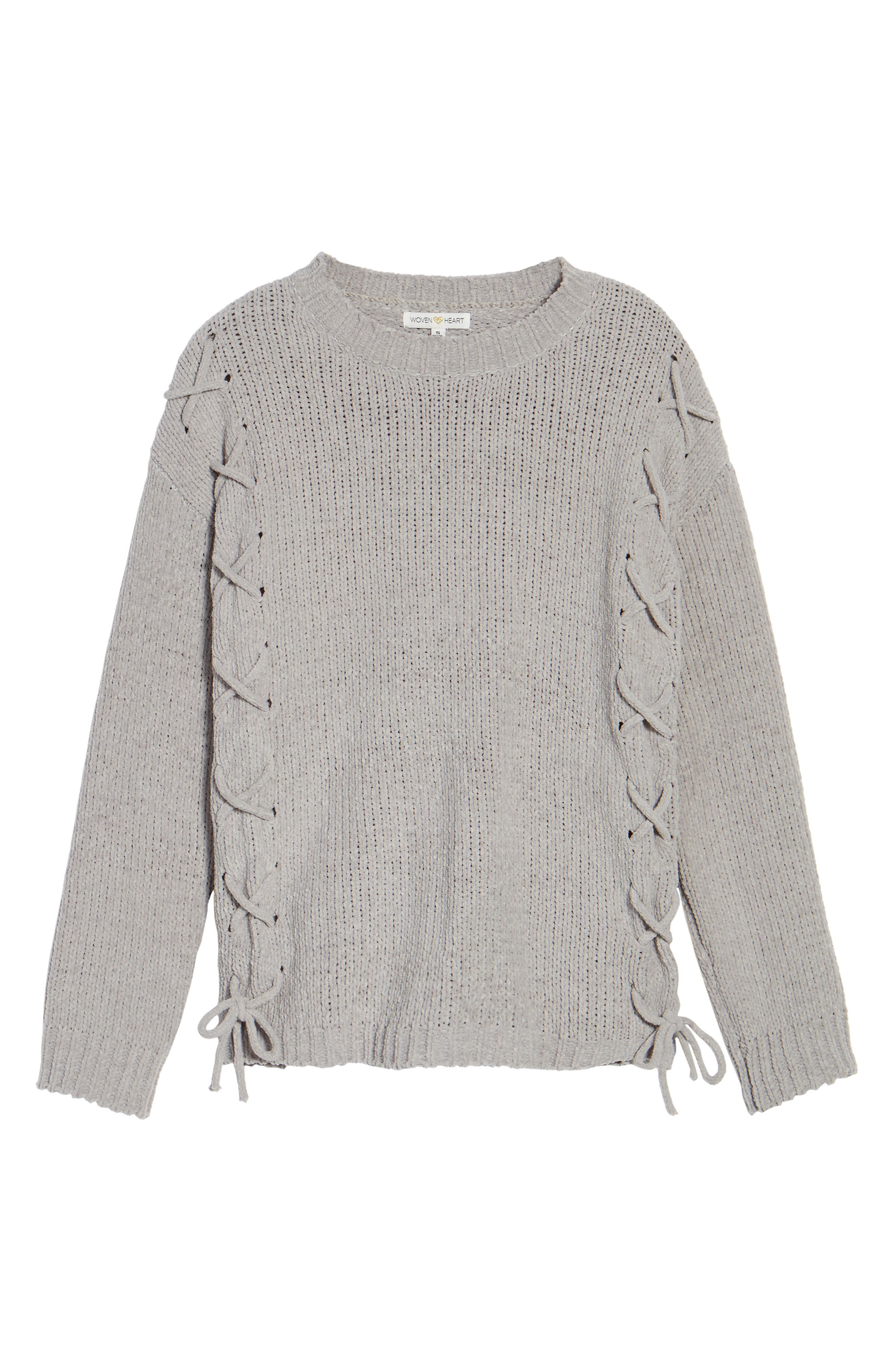 Alternate Image 6  - Woven Heart Lace-Up Chenille Pullover