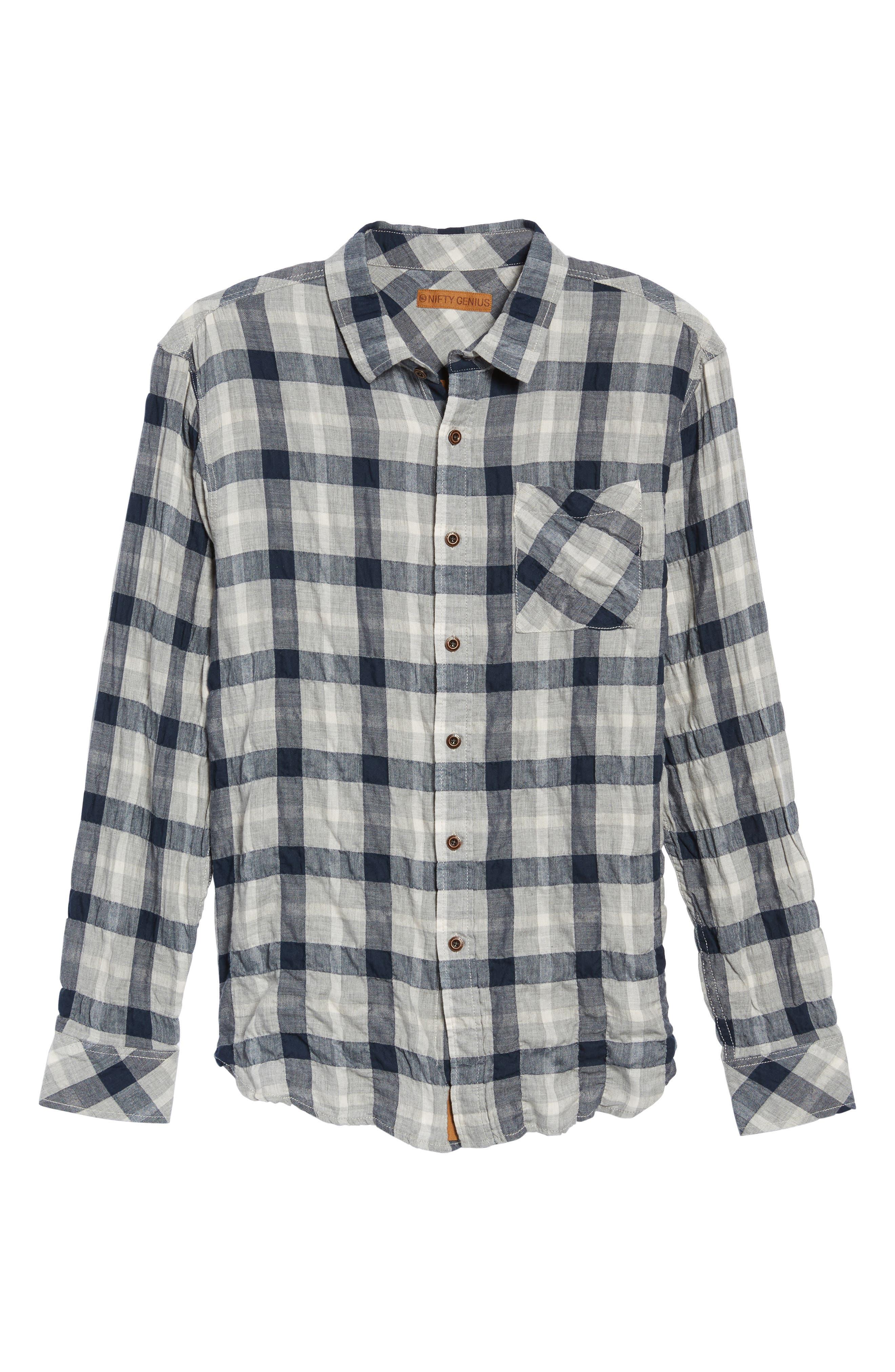 Truman Plaid Sport Shirt,                             Alternate thumbnail 6, color,                             Gray/ Navy/ White