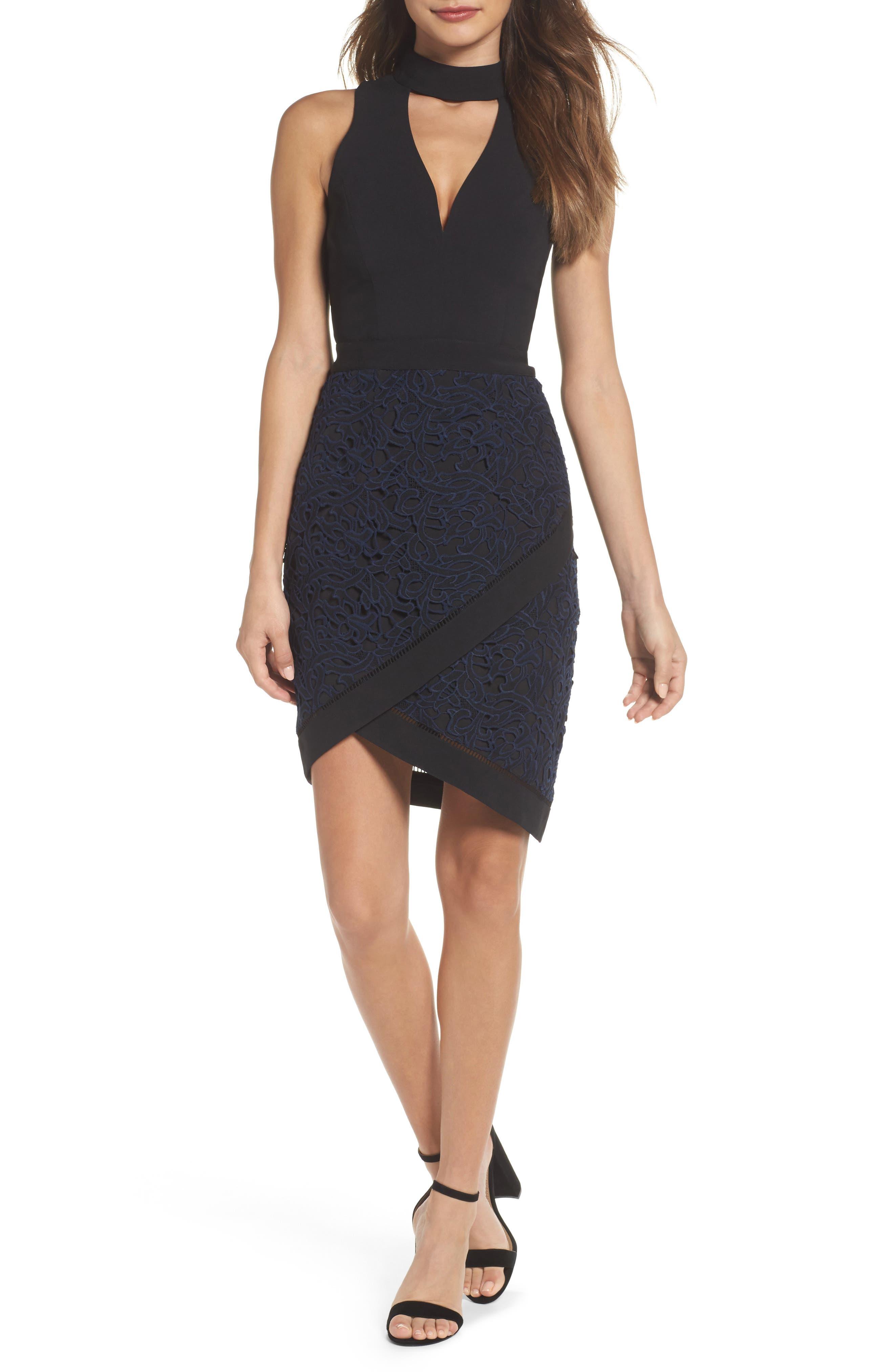 Choker Sheath Dress,                             Main thumbnail 1, color,                             Black/ Navy