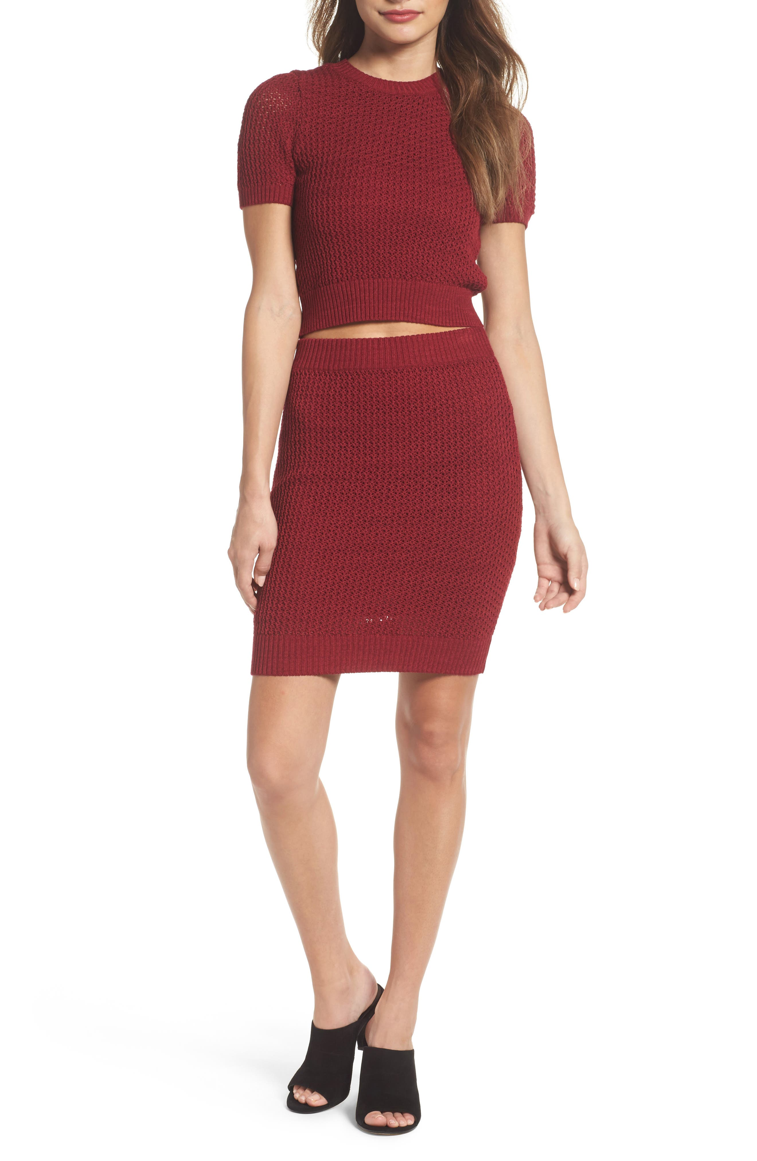 Two-Piece Sweater Dress,                         Main,                         color, Burgundy