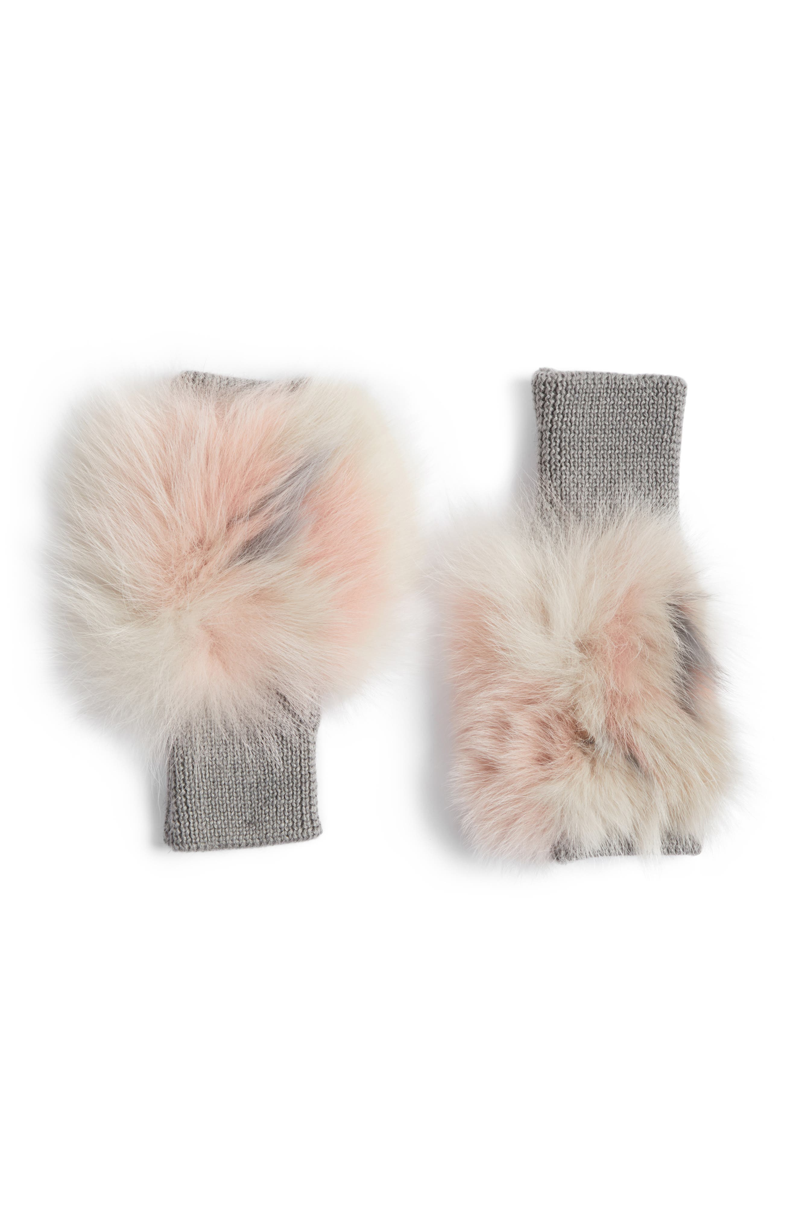Genuine Fox Fur Fingerless Mittens,                             Main thumbnail 1, color,                             Nude Multi