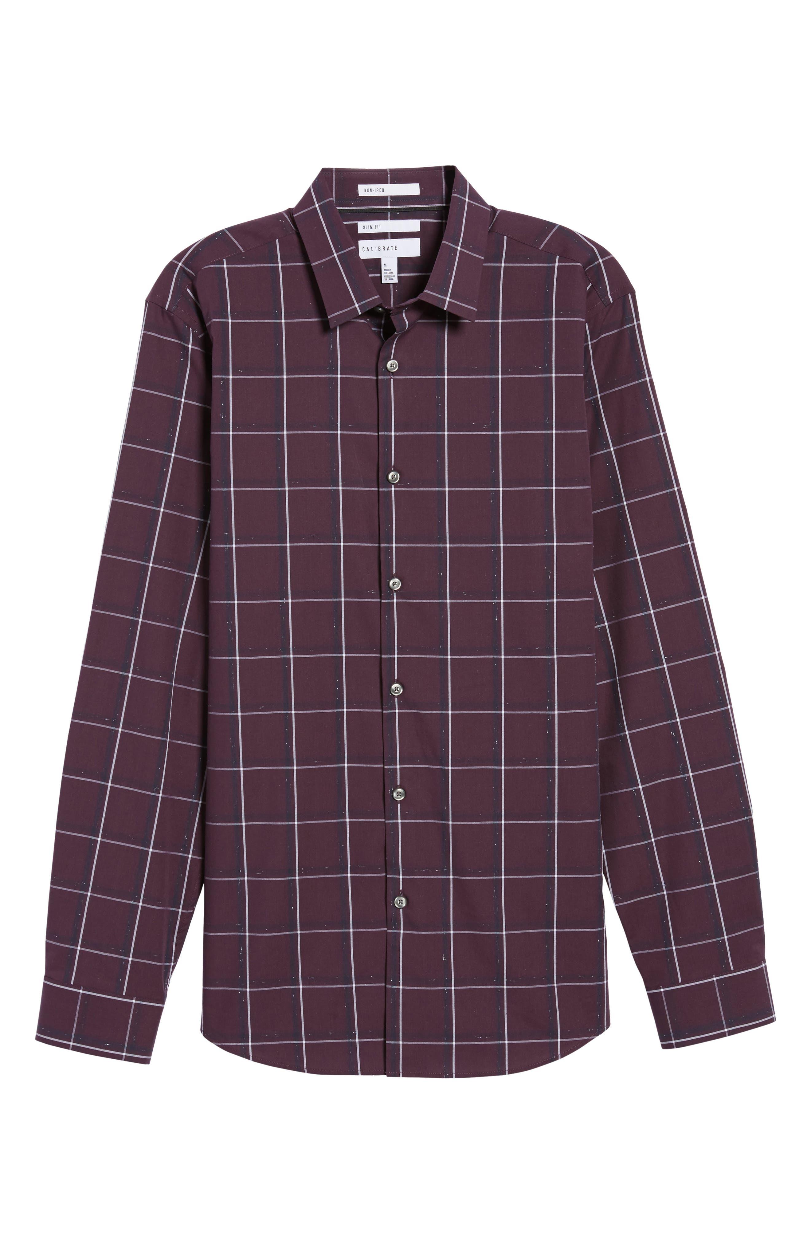 Check Sport Shirt,                             Alternate thumbnail 5, color,                             Purple Plum White Grid