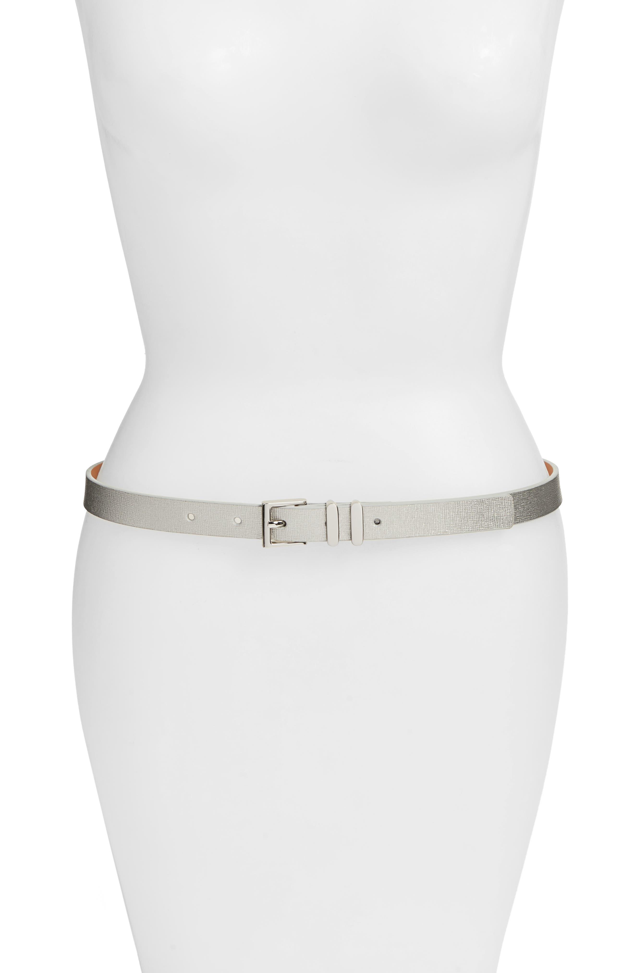 Metallic Saffiano Leather Belt,                             Main thumbnail 1, color,                             Silver
