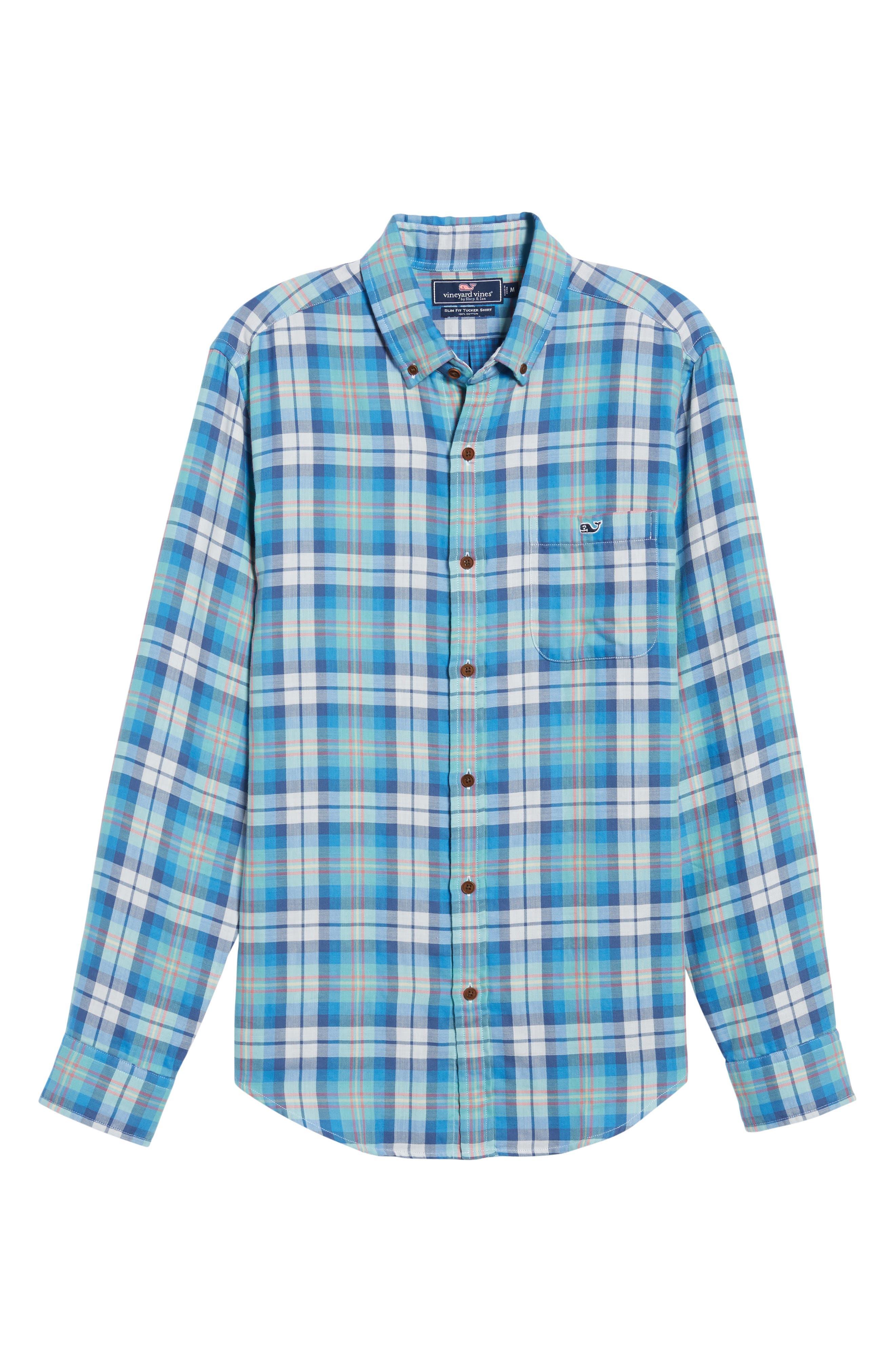 East Marsh Plaid Tucker Slim Fit Sport Shirt,                             Alternate thumbnail 6, color,                             Hull Blue