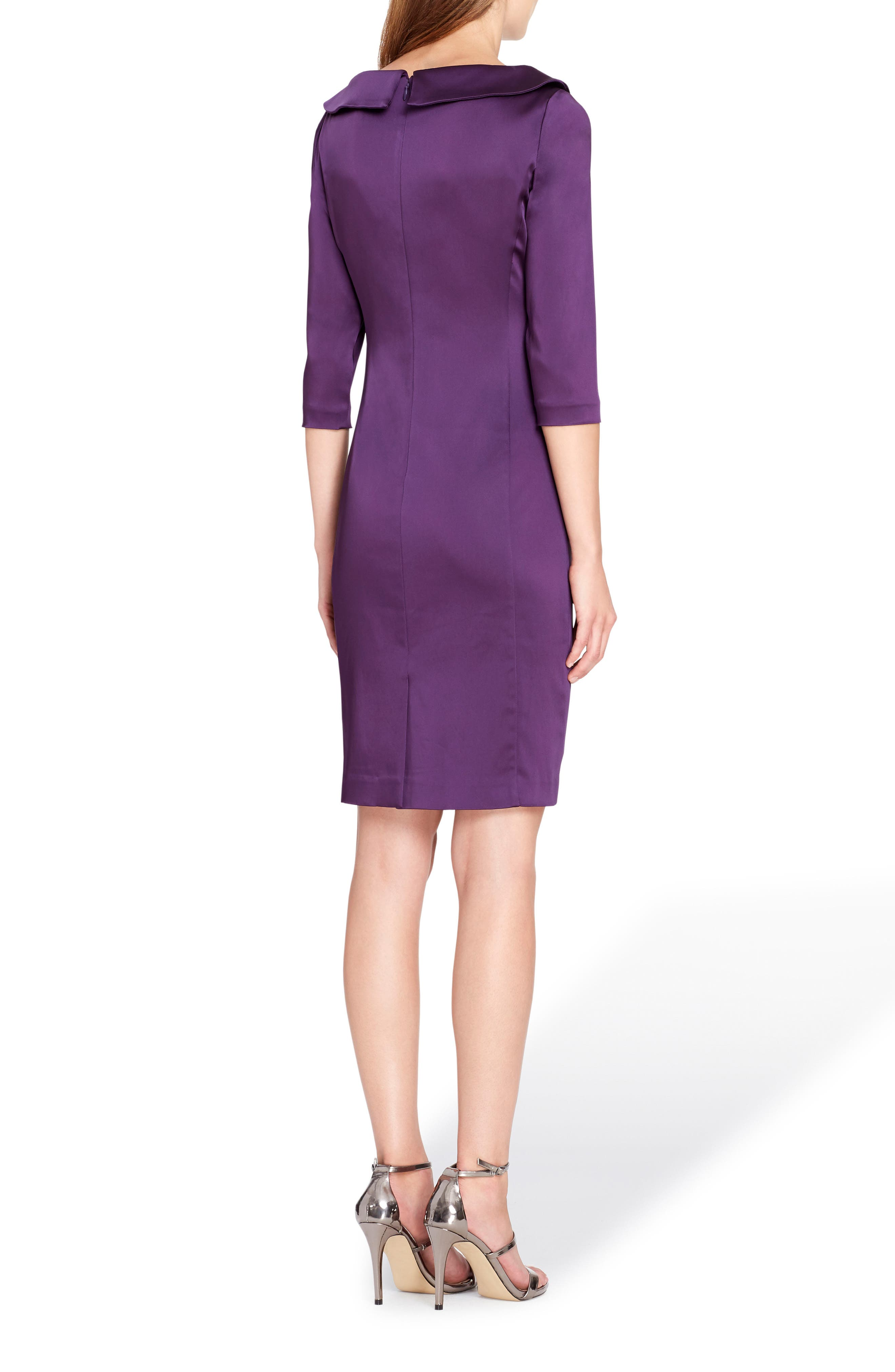 Ruched Stretch Satin Sheath Dress,                             Alternate thumbnail 2, color,                             Plum