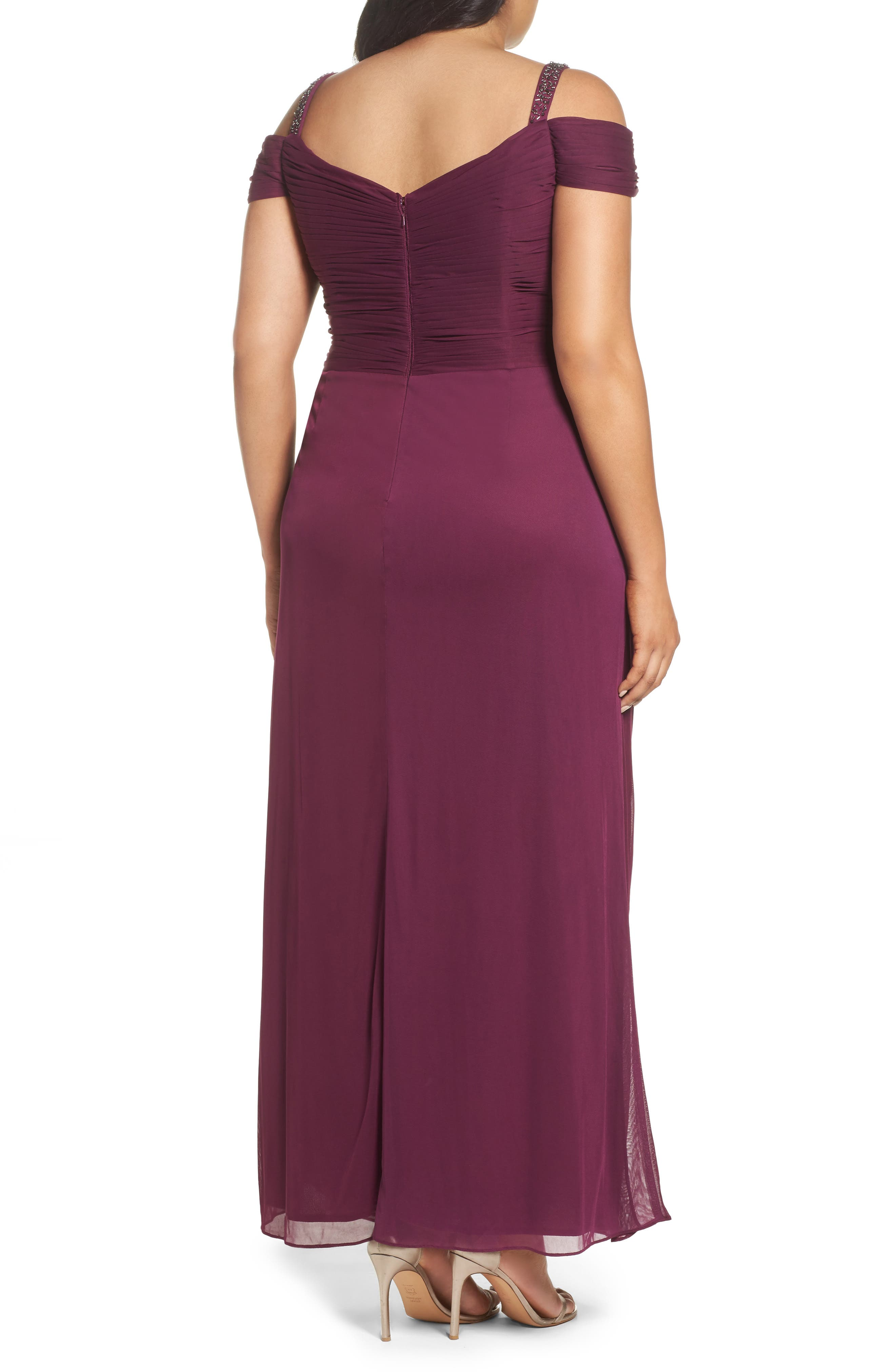 Alternate Image 2  - Alex Evenings Embellished Cold Shoulder Gown (Plus Size)