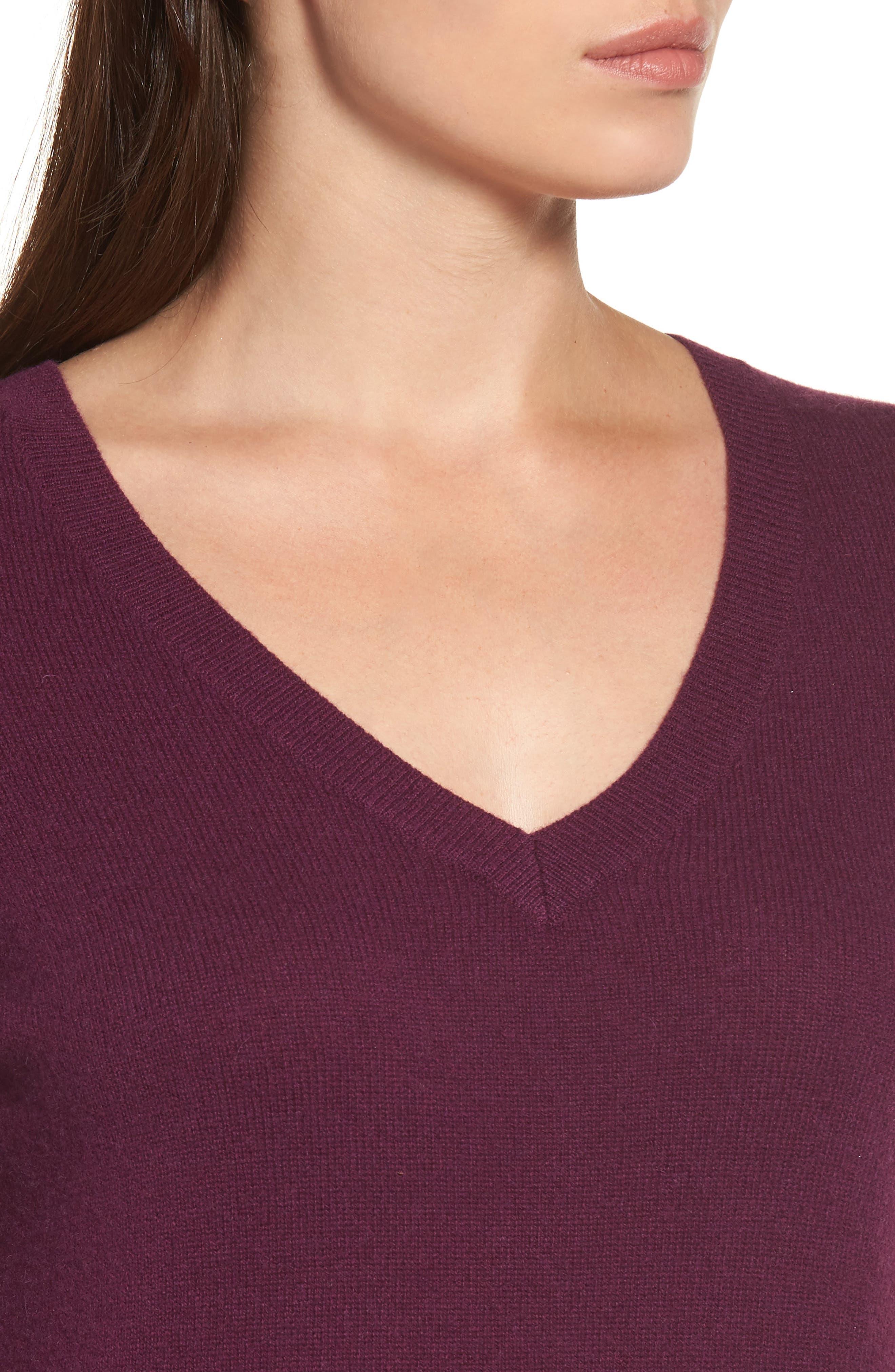 Alternate Image 4  - Halogen® V-Neck Cashmere Sweater (Regular & Petite)