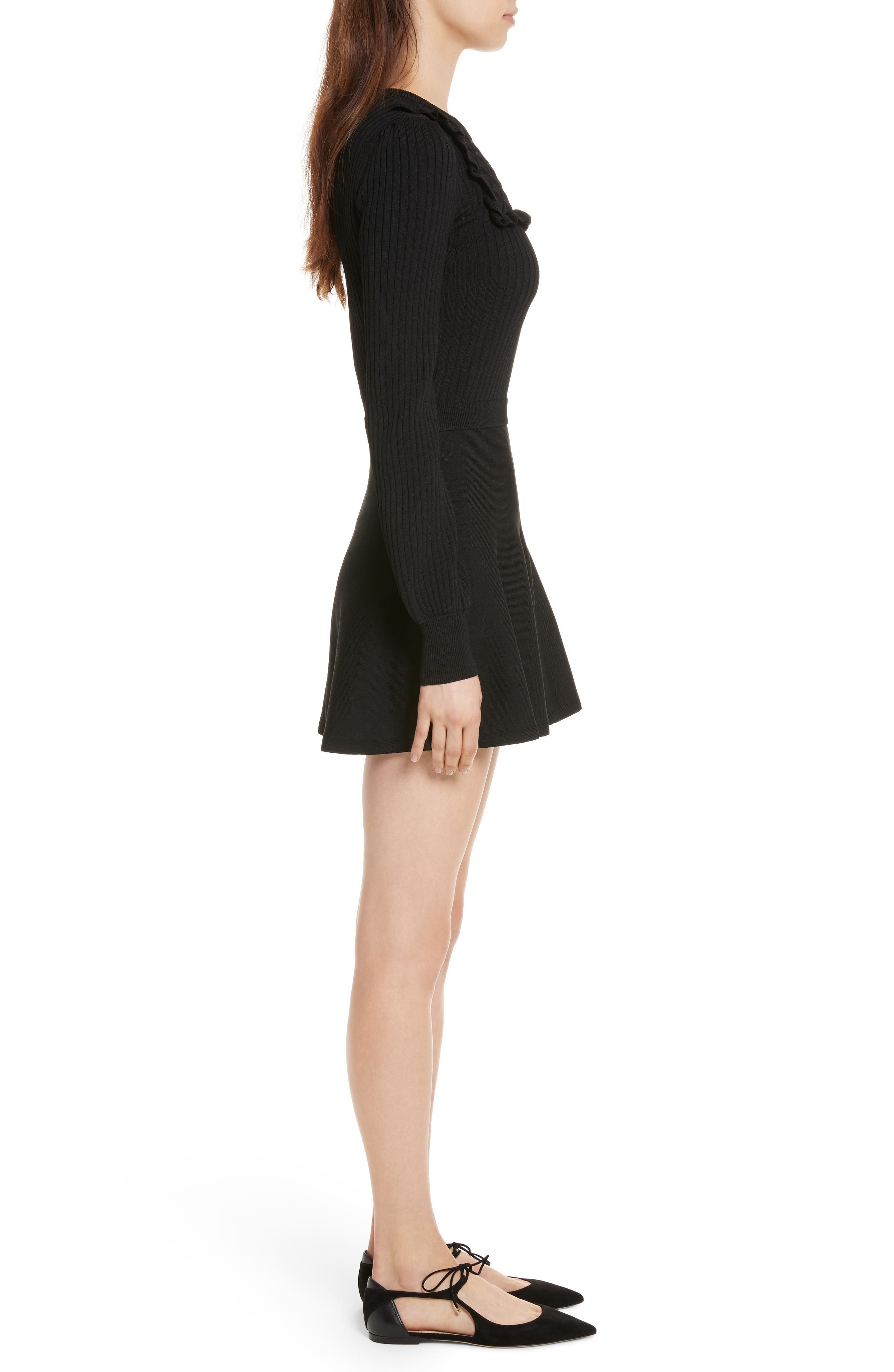 Hand Stitched Stretch Knit Dress,                             Alternate thumbnail 3, color,                             Nero
