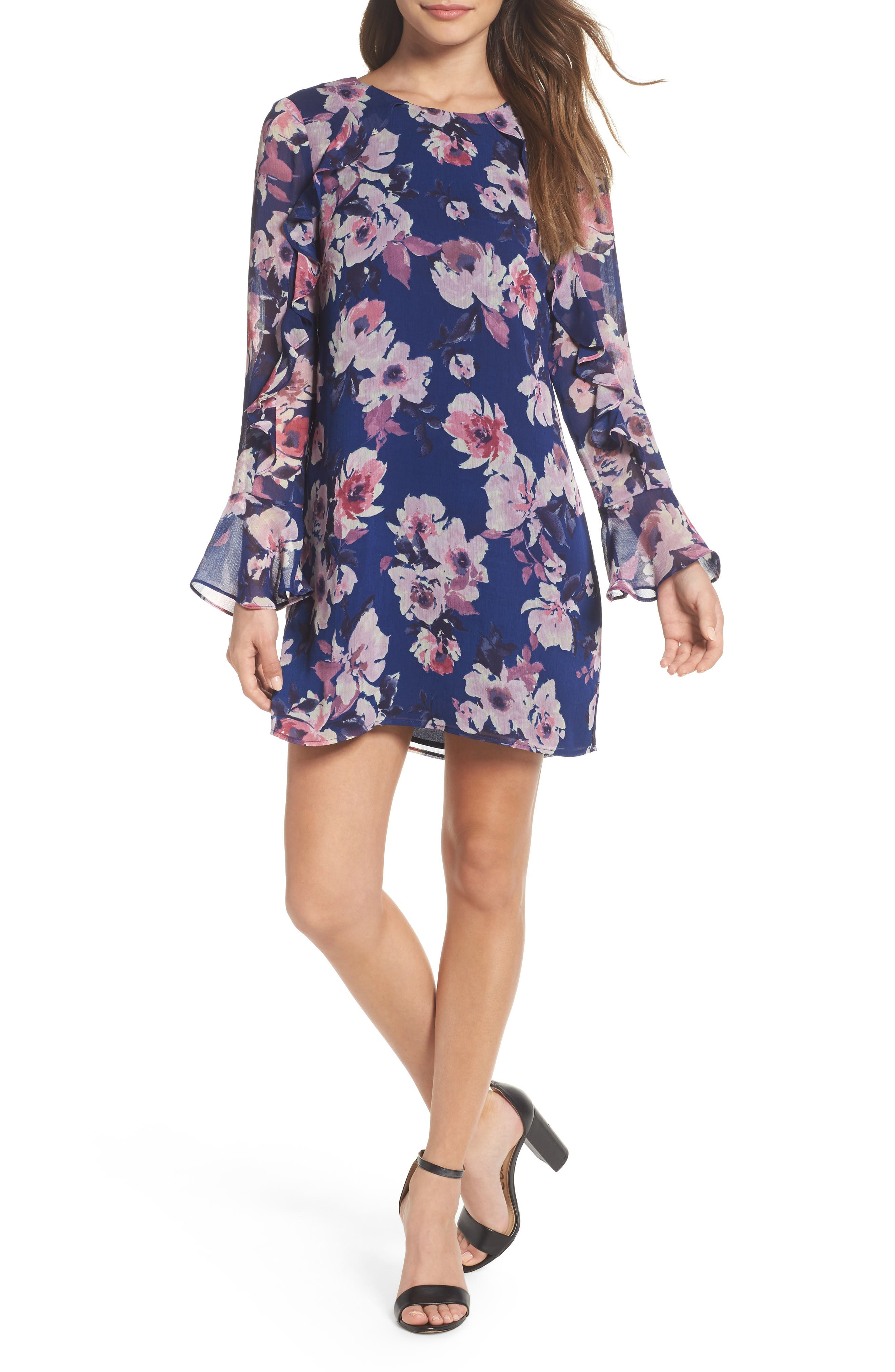 Bell Sleeve Shift Dress,                         Main,                         color, Navy Floral