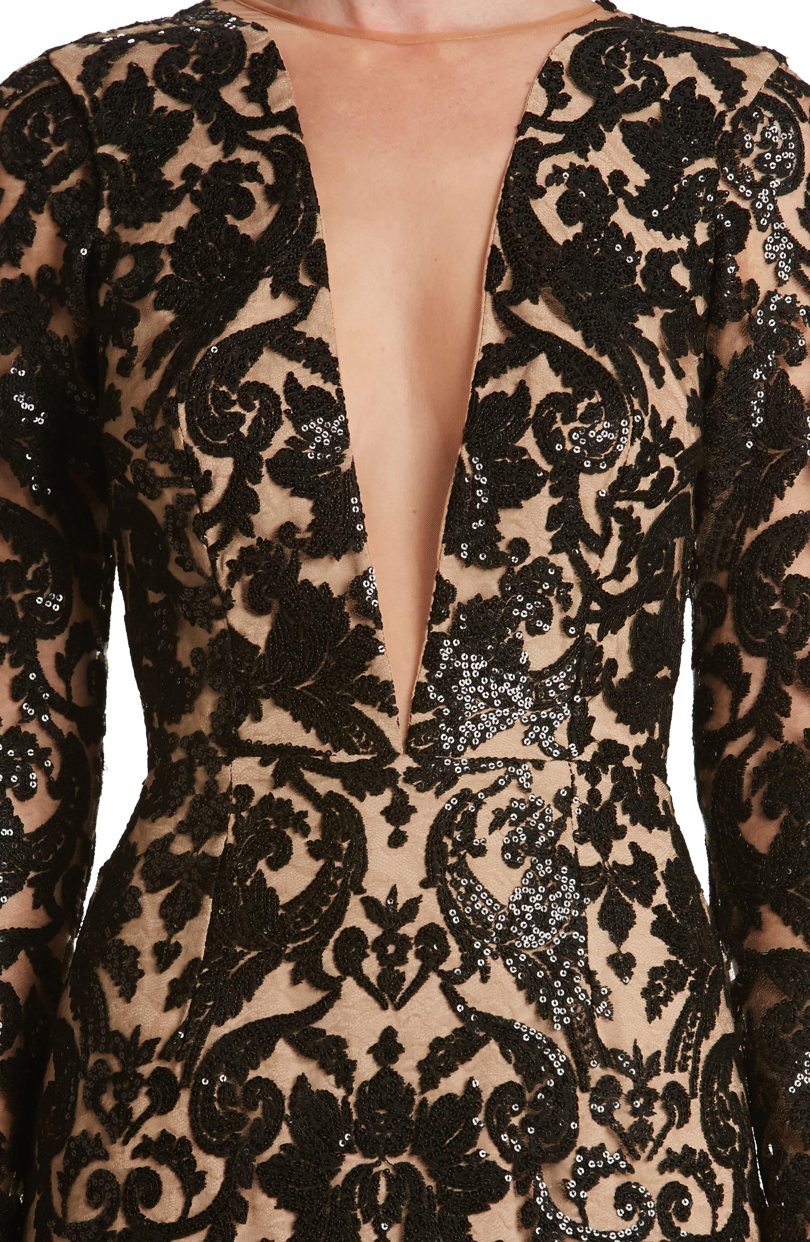 Alternate Image 5  - Dress the Population Claudia Plunging Illusion Sequin Lace Minidress (Nordstrom Exclusive)