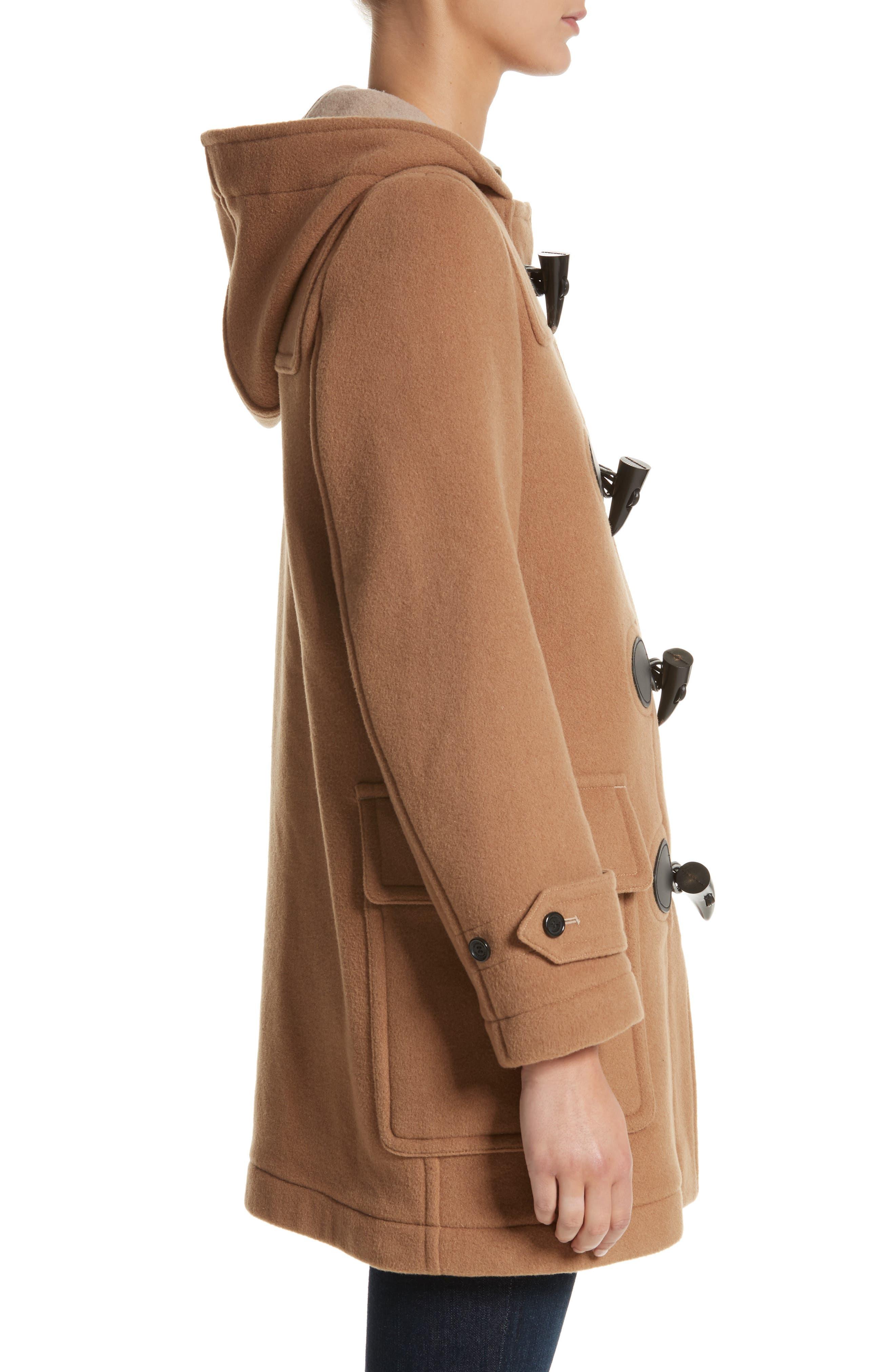 Mersey Wool Blend Duffle Coat,                             Alternate thumbnail 3, color,                             Mid Camel