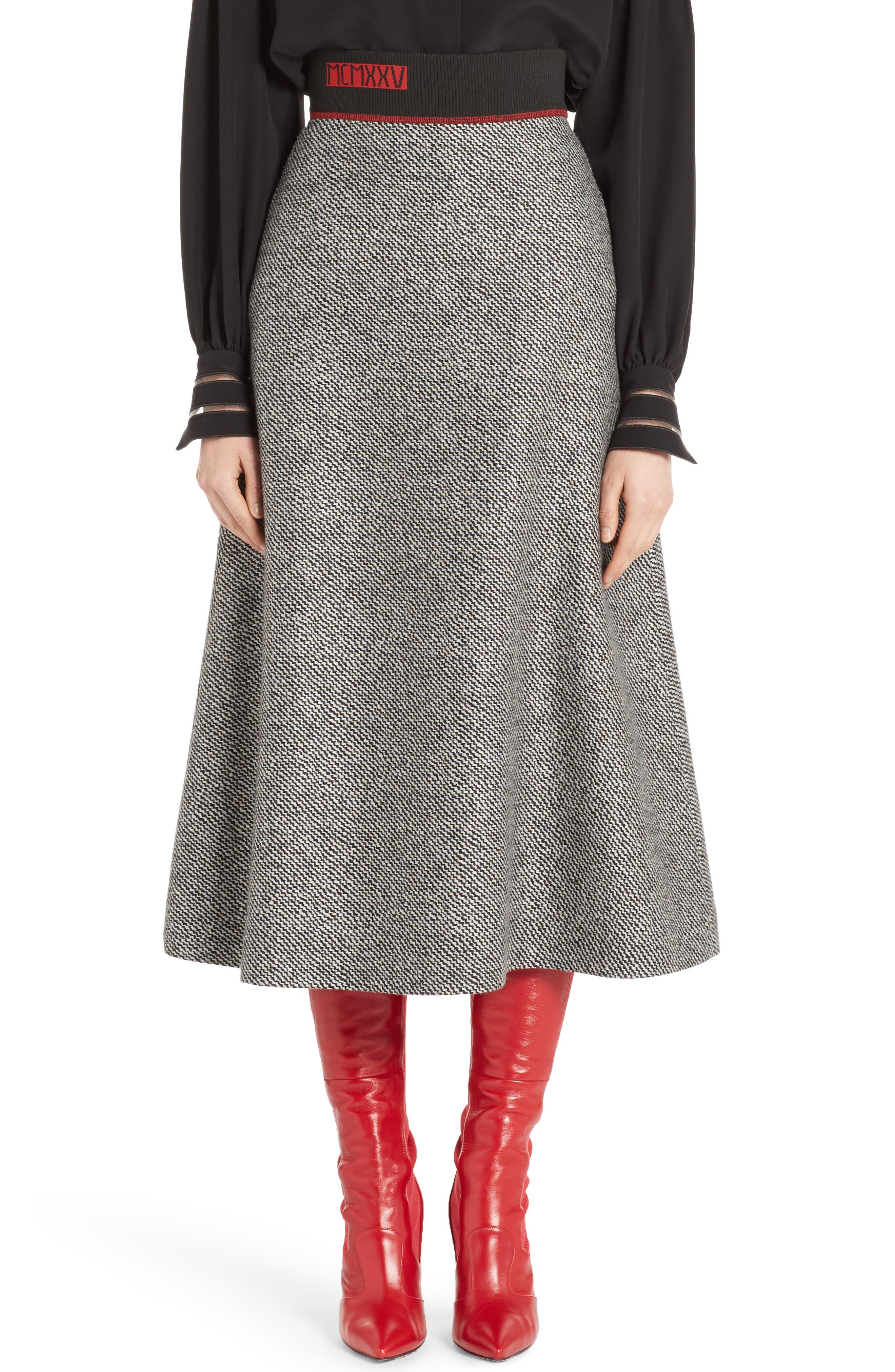 Chevron Knit A-Line Skirt,                         Main,                         color, Black/ White