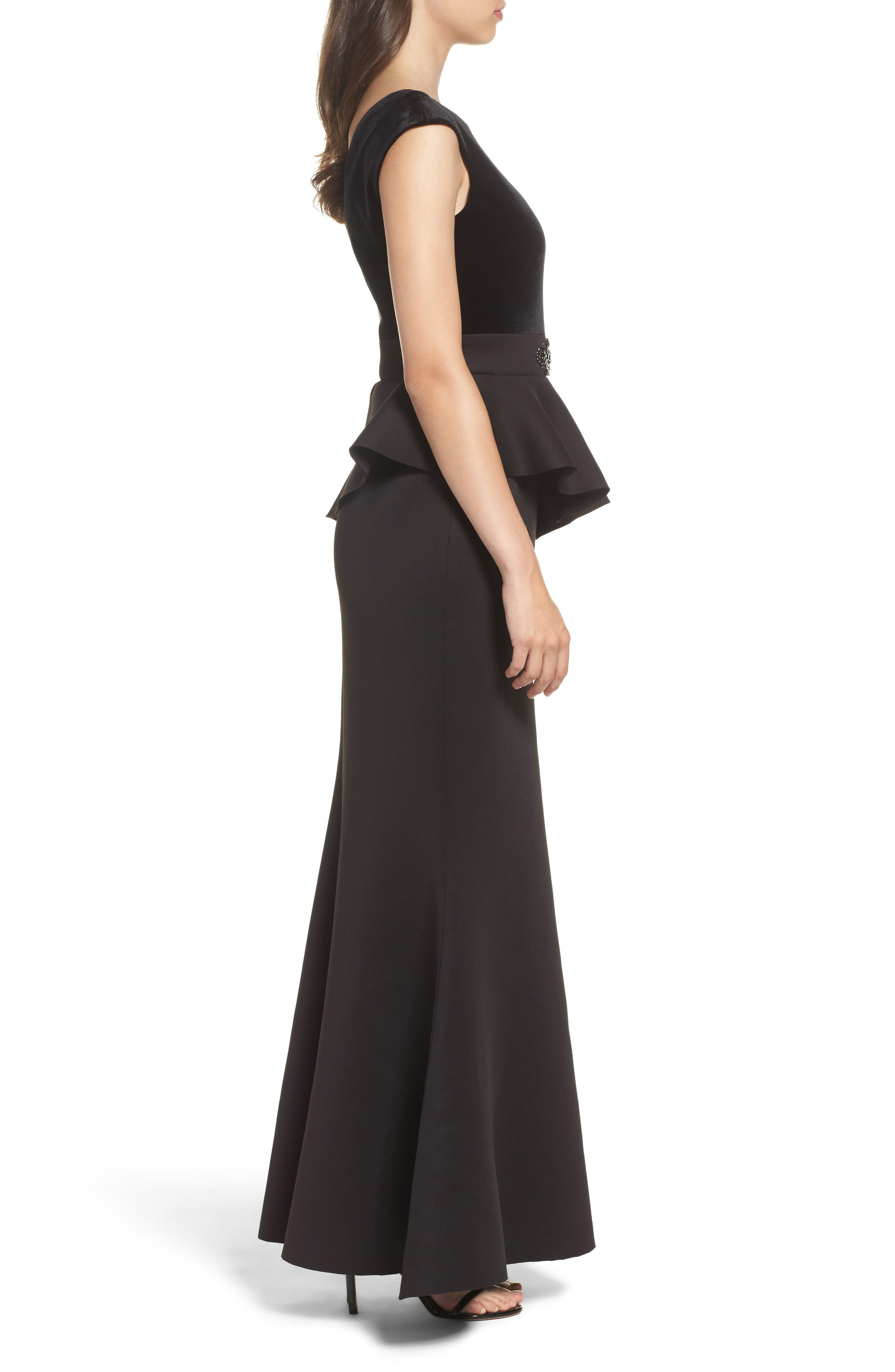 Cap Sleeve Mixed Media Peplum Gown,                             Alternate thumbnail 3, color,                             Black/ Blue