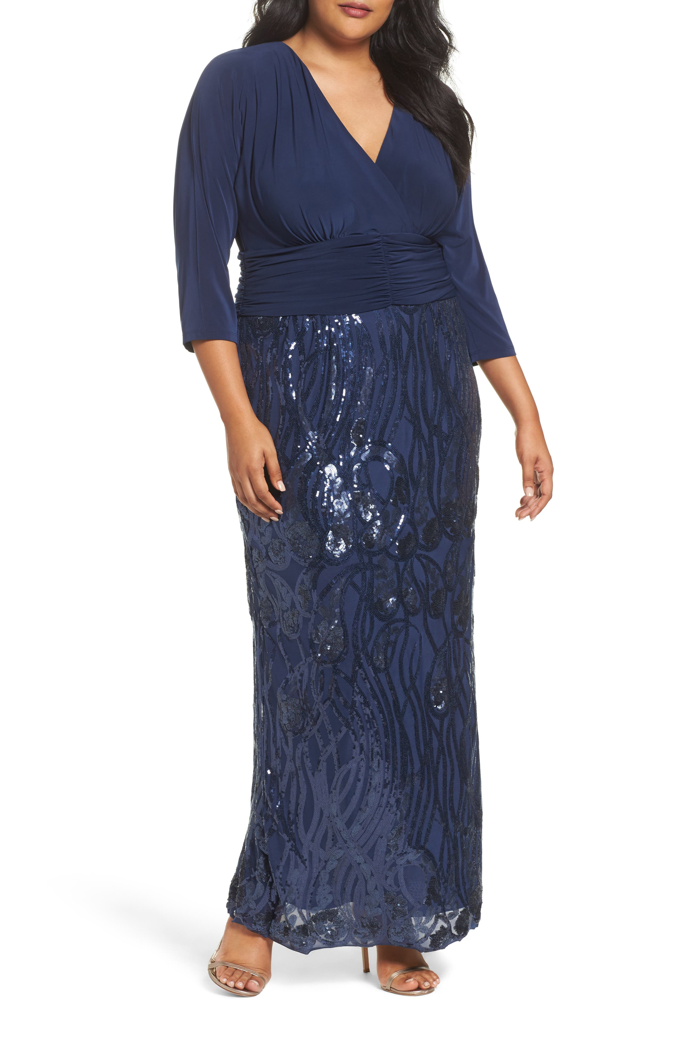 Embellished Shirred Waist Gown,                         Main,                         color, Navy