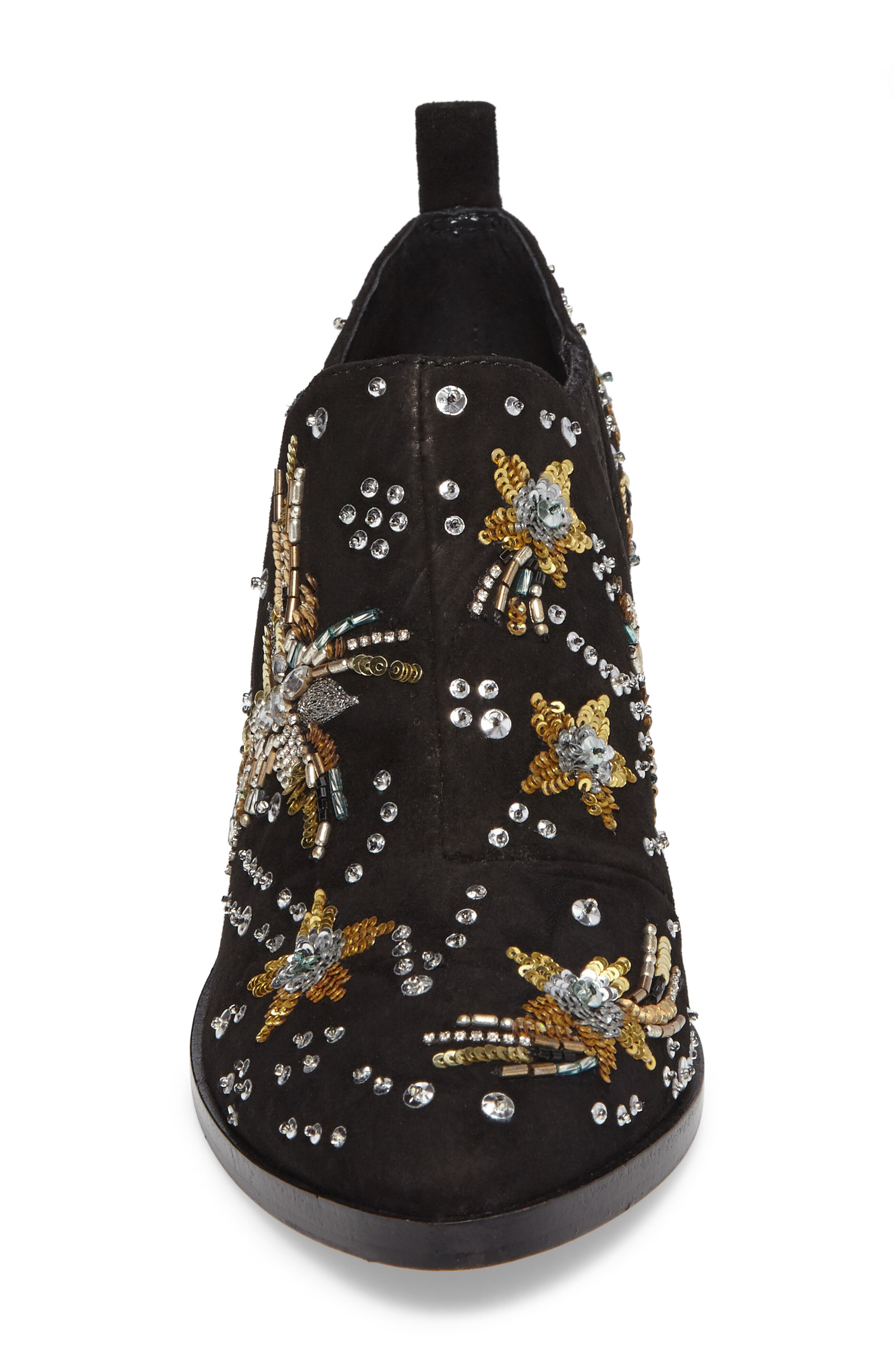 Lucy Embellished Bootie,                             Alternate thumbnail 4, color,                             Black