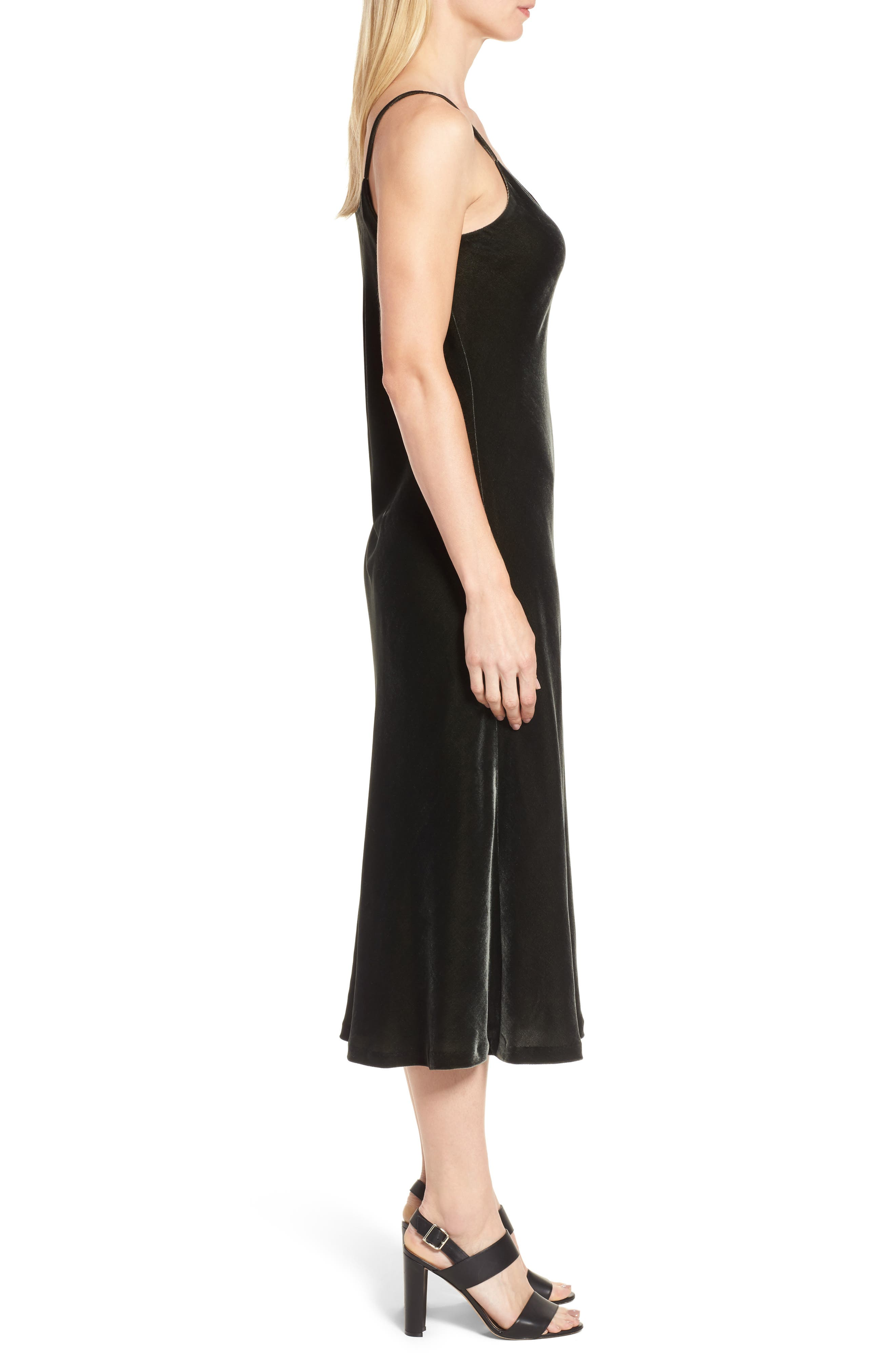 Velvet Slipdress,                             Alternate thumbnail 3, color,                             Olive Sarma