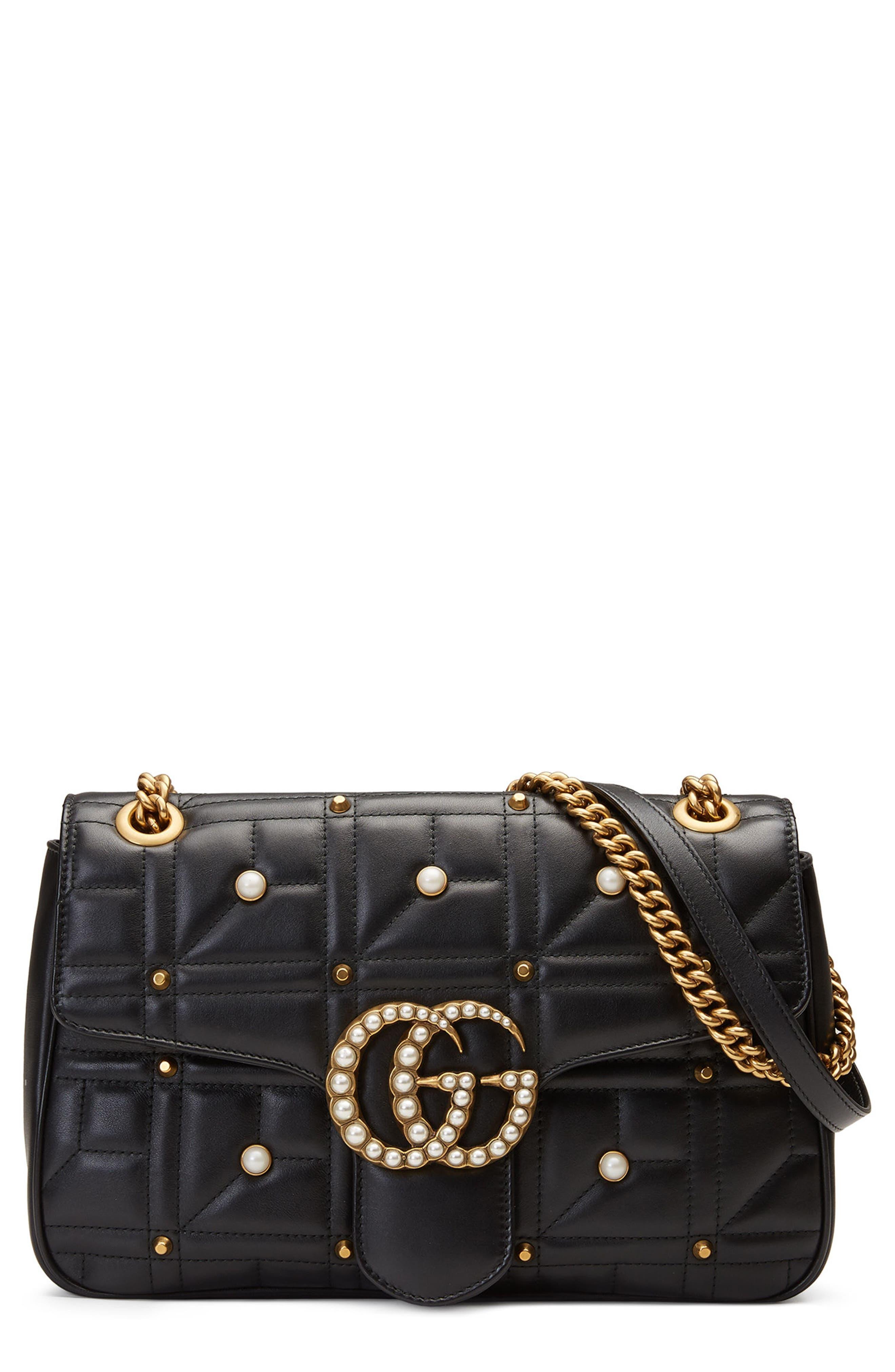 GUCCI GG Marmont 2.0 Imitation Pearl Logo Matelassé Leather Shoulder Bag