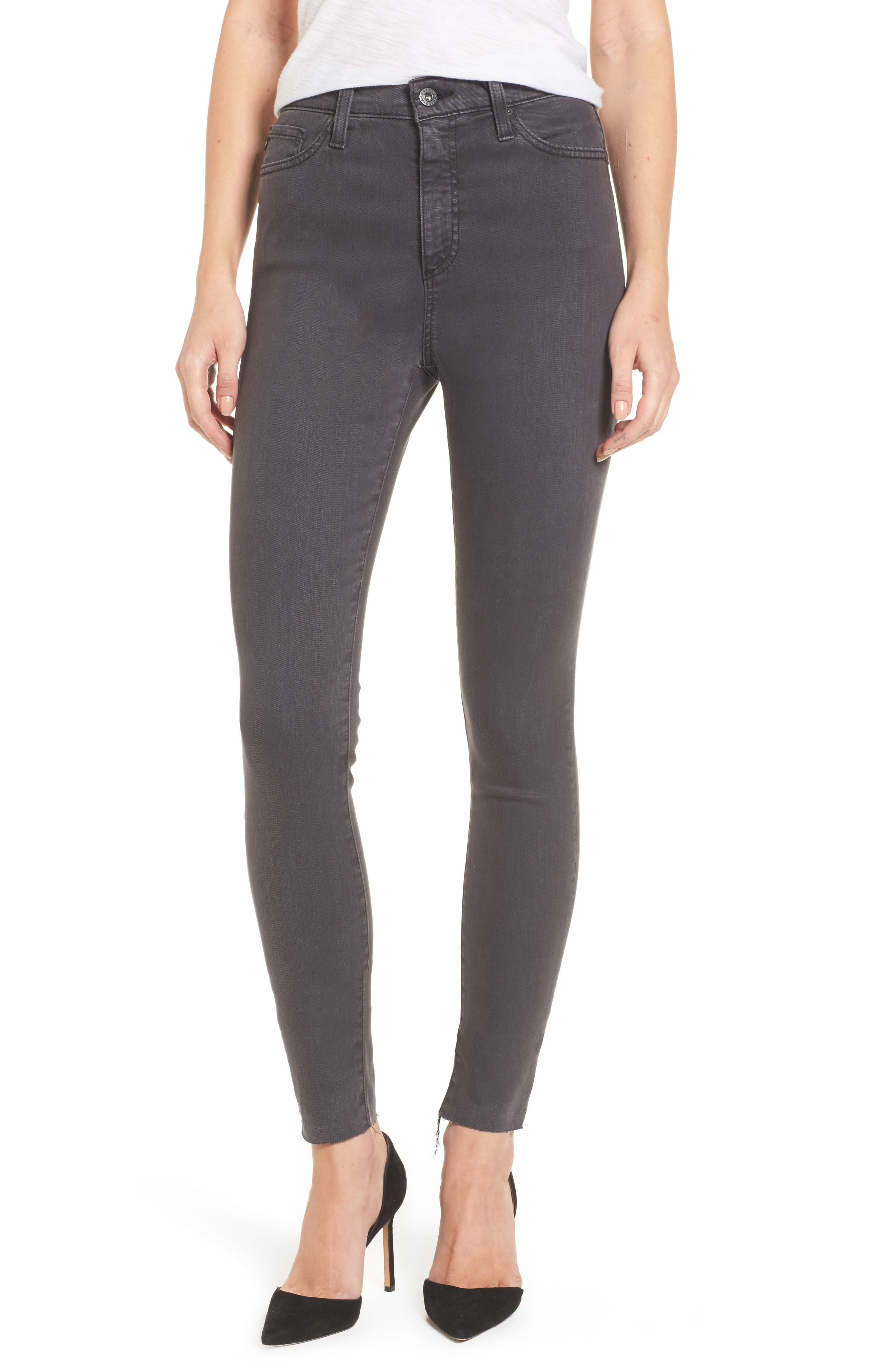 Main Image - AG Mila High Rise Skinny Jeans (Interstellar Black)