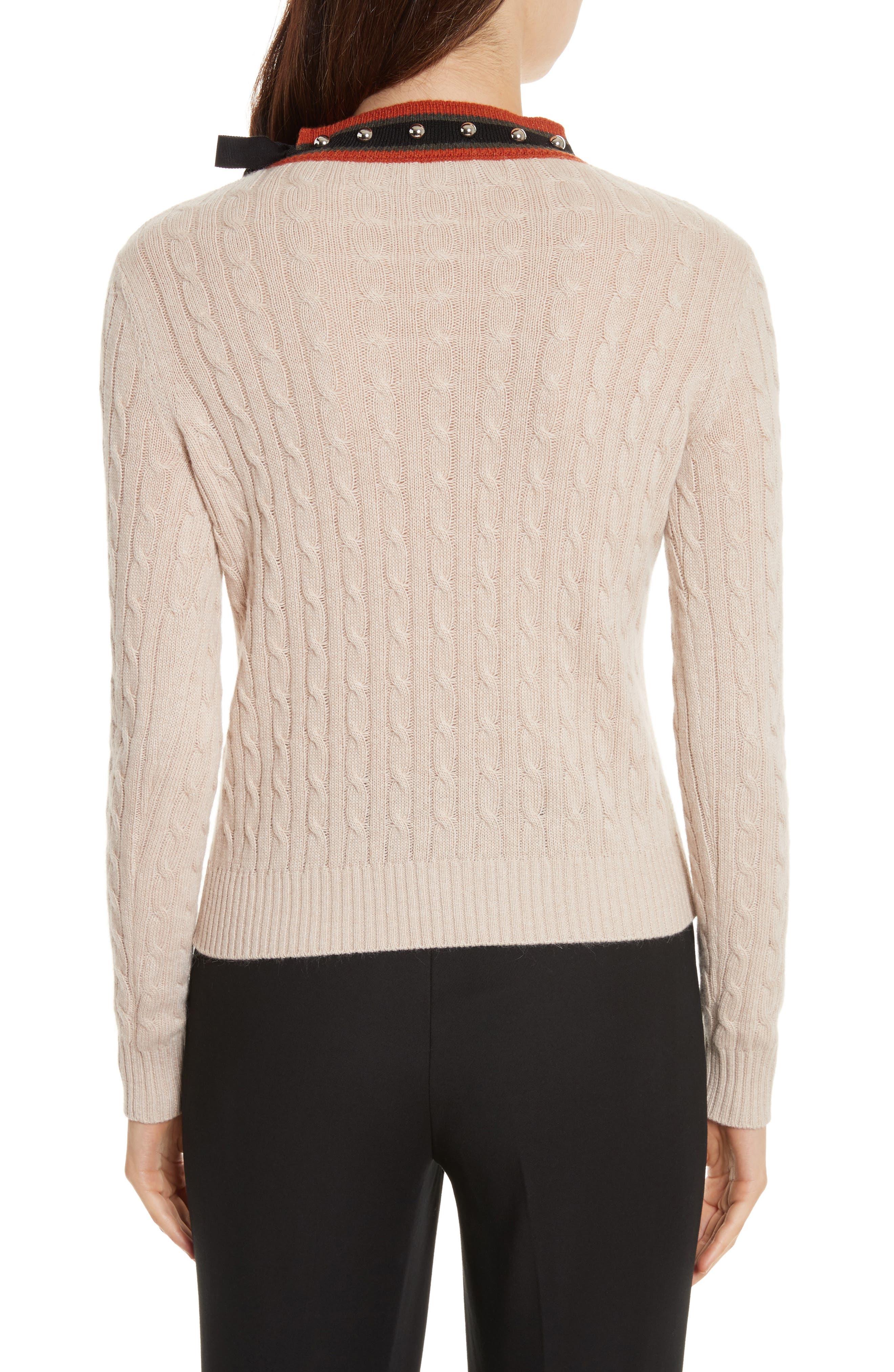 Printed Wool & Angora Blend Sweater,                             Alternate thumbnail 2, color,                             Deserto Chiaro