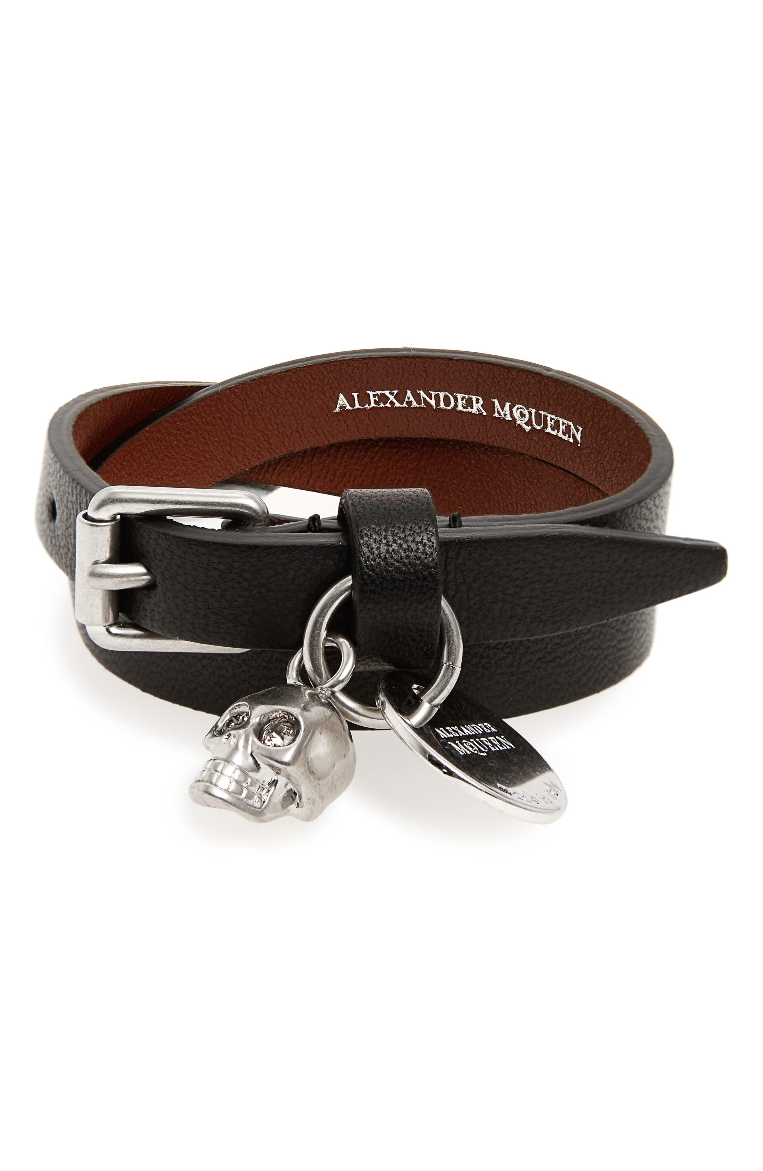 Alexander McQueen Skull Charm Leather Wrap Bracelet