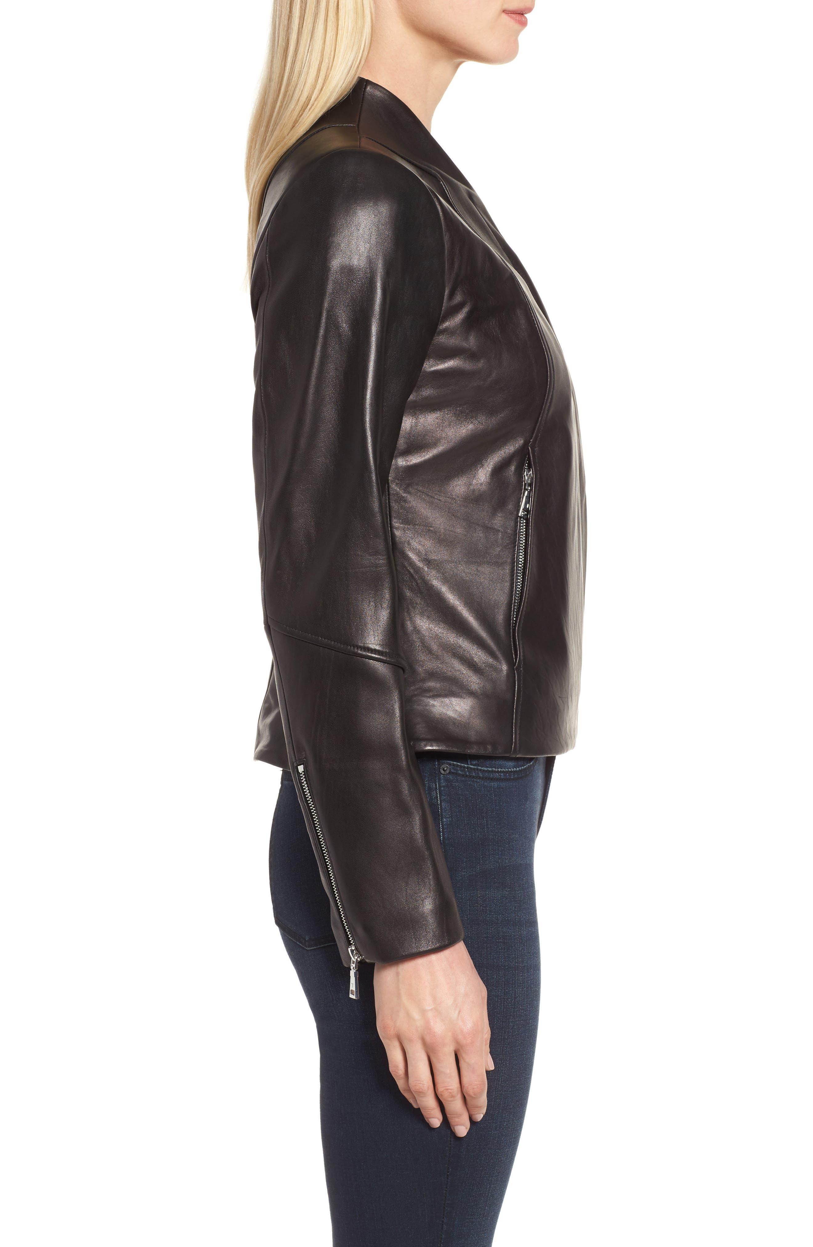 Seam Leather Jacket,                             Alternate thumbnail 3, color,                             Black