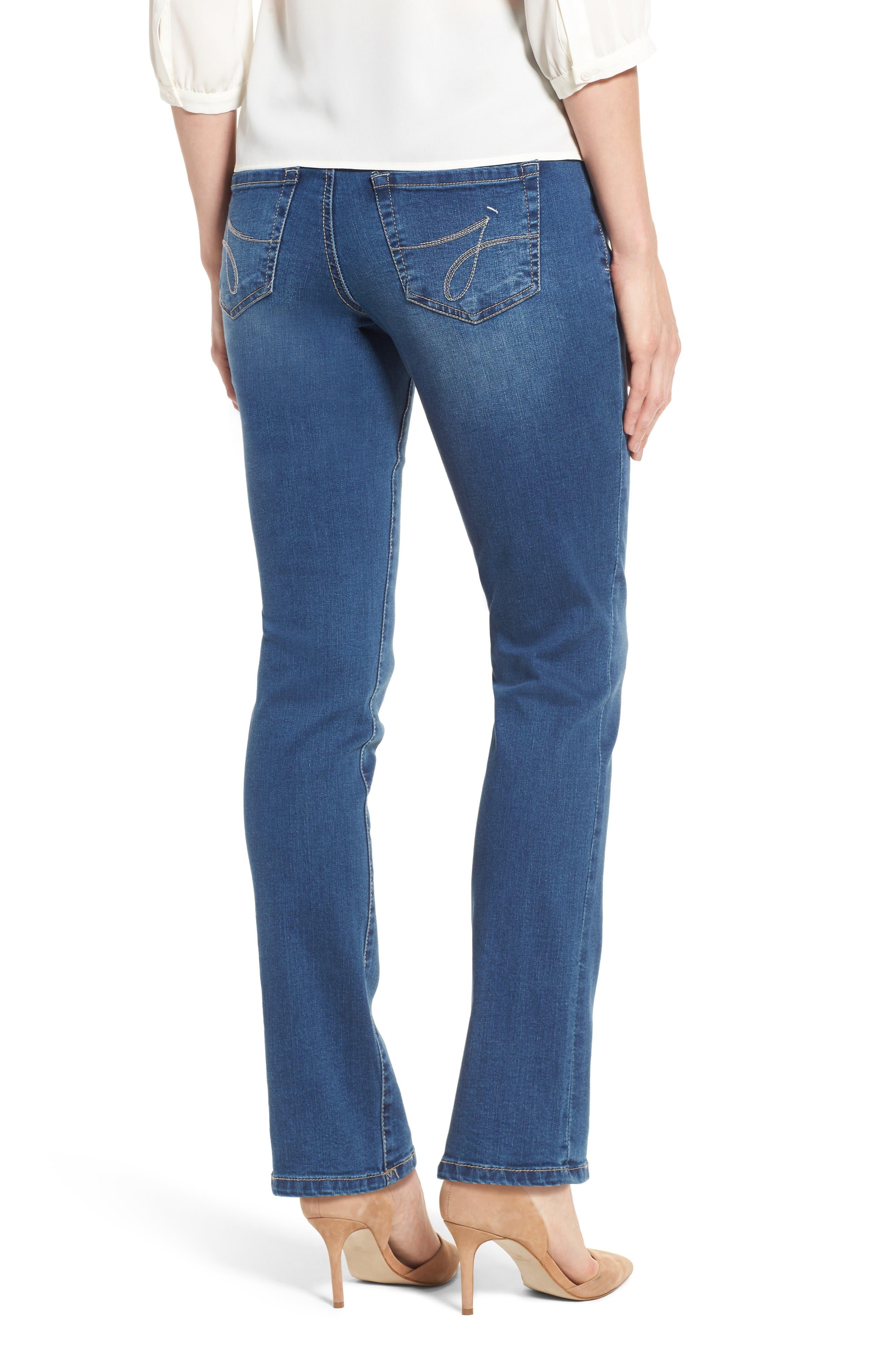Peri Pull-On Straight Leg Jeans,                             Alternate thumbnail 2, color,                             Medium Indigo
