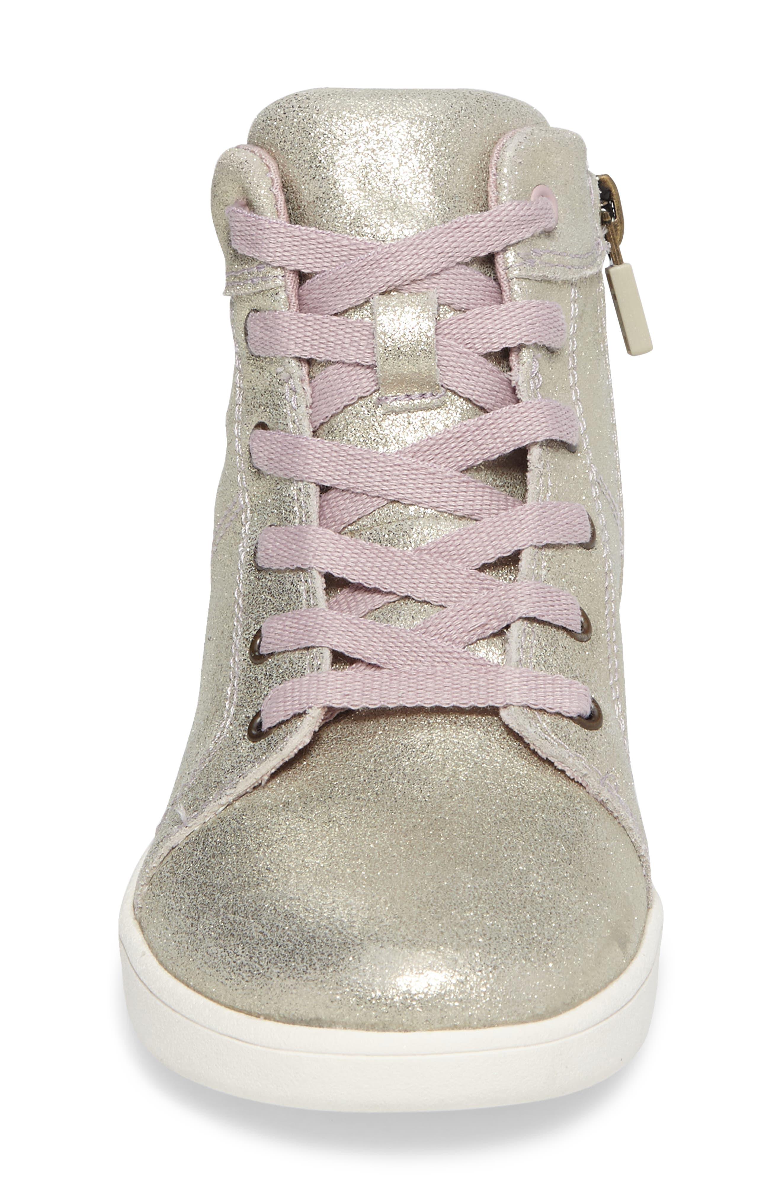 Schyler Metallic High Top Sneaker,                             Alternate thumbnail 4, color,                             Gold
