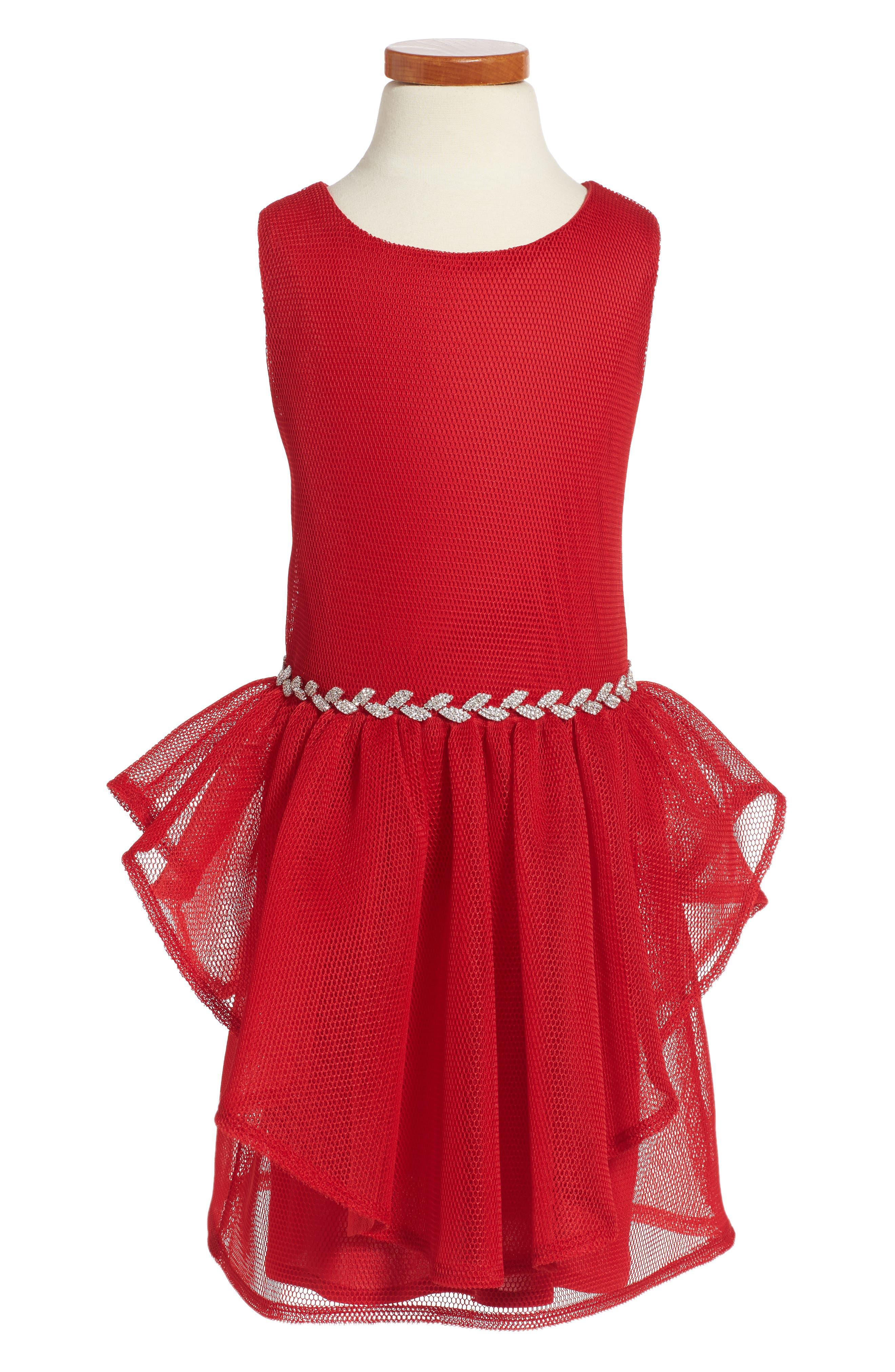 David Charles Embellished Mesh Dress (Big Girls)